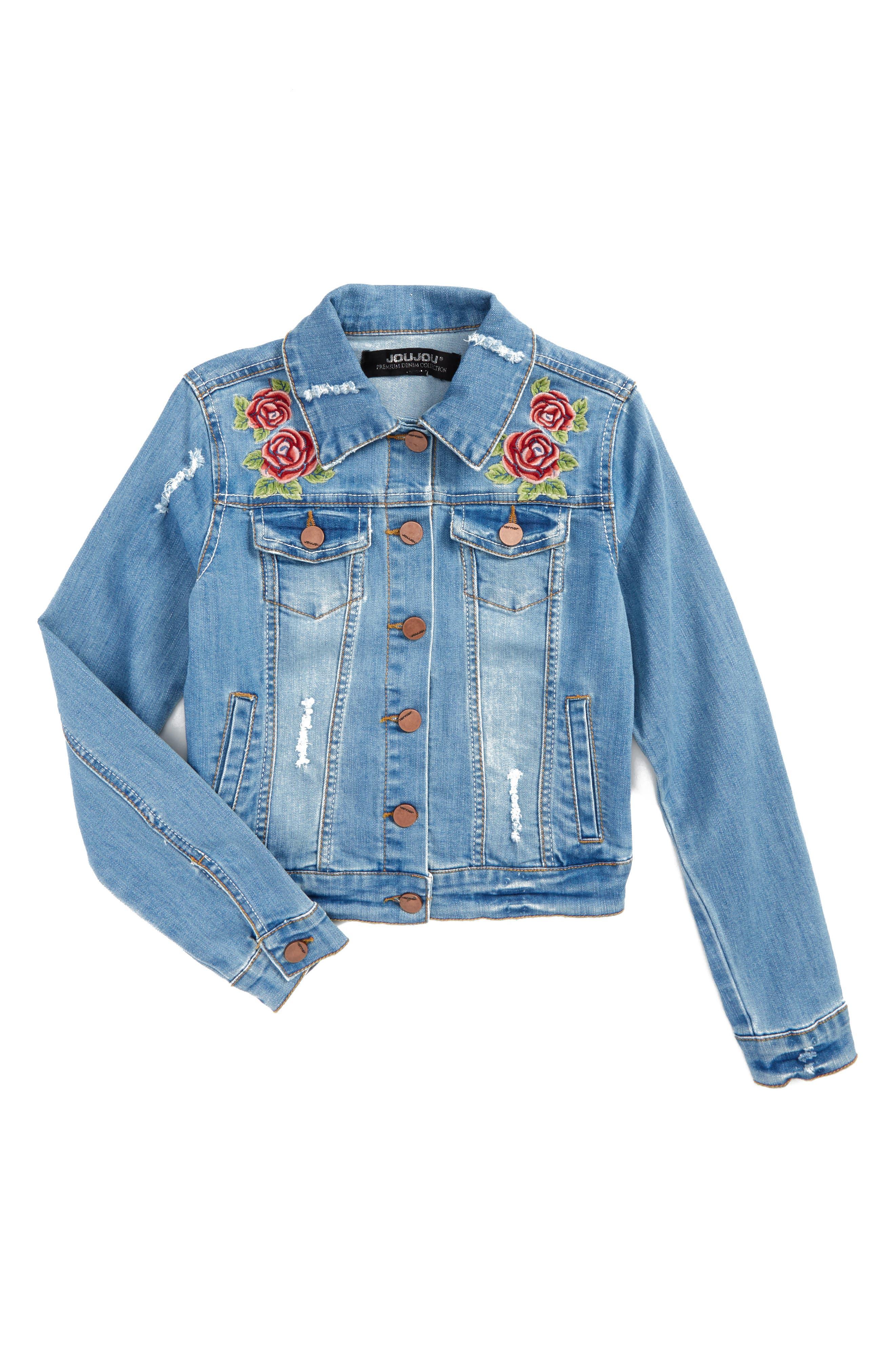 Main Image - Jou Jou Embroidered Denim Jacket (Big Girls)