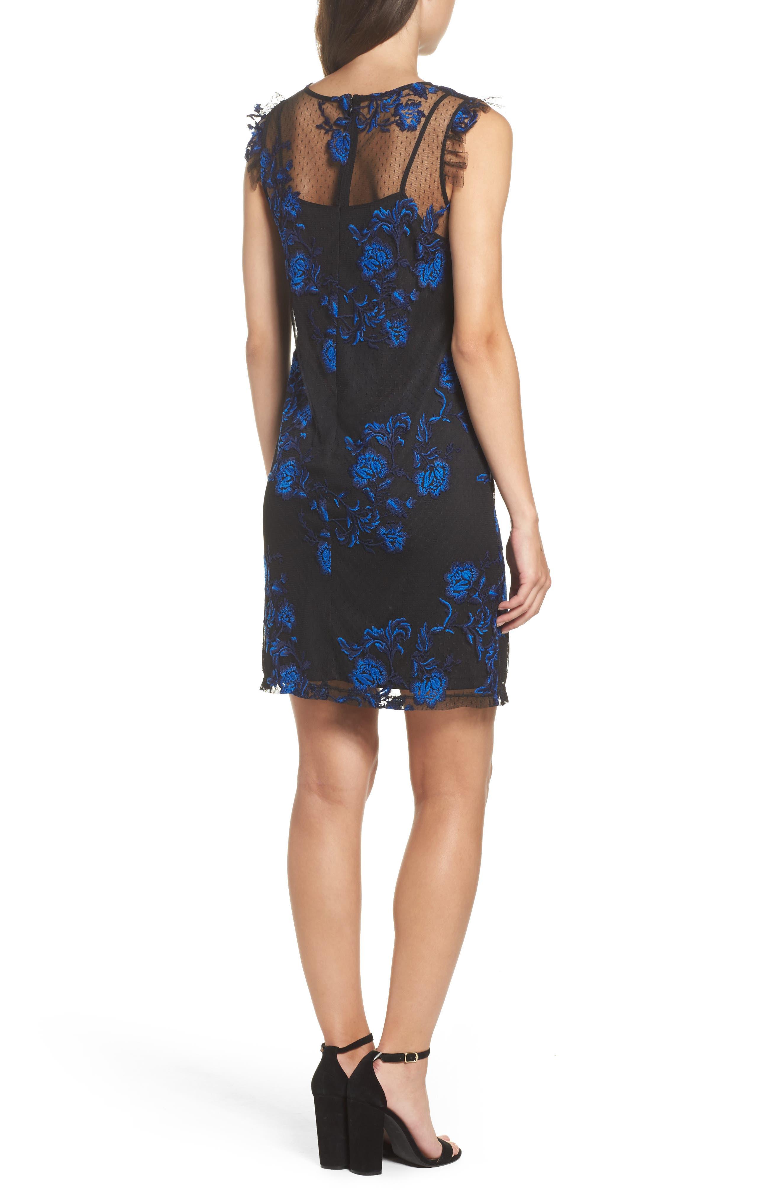 Embroidered Mesh Sheath Dress,                             Alternate thumbnail 2, color,                             Blue/ Black
