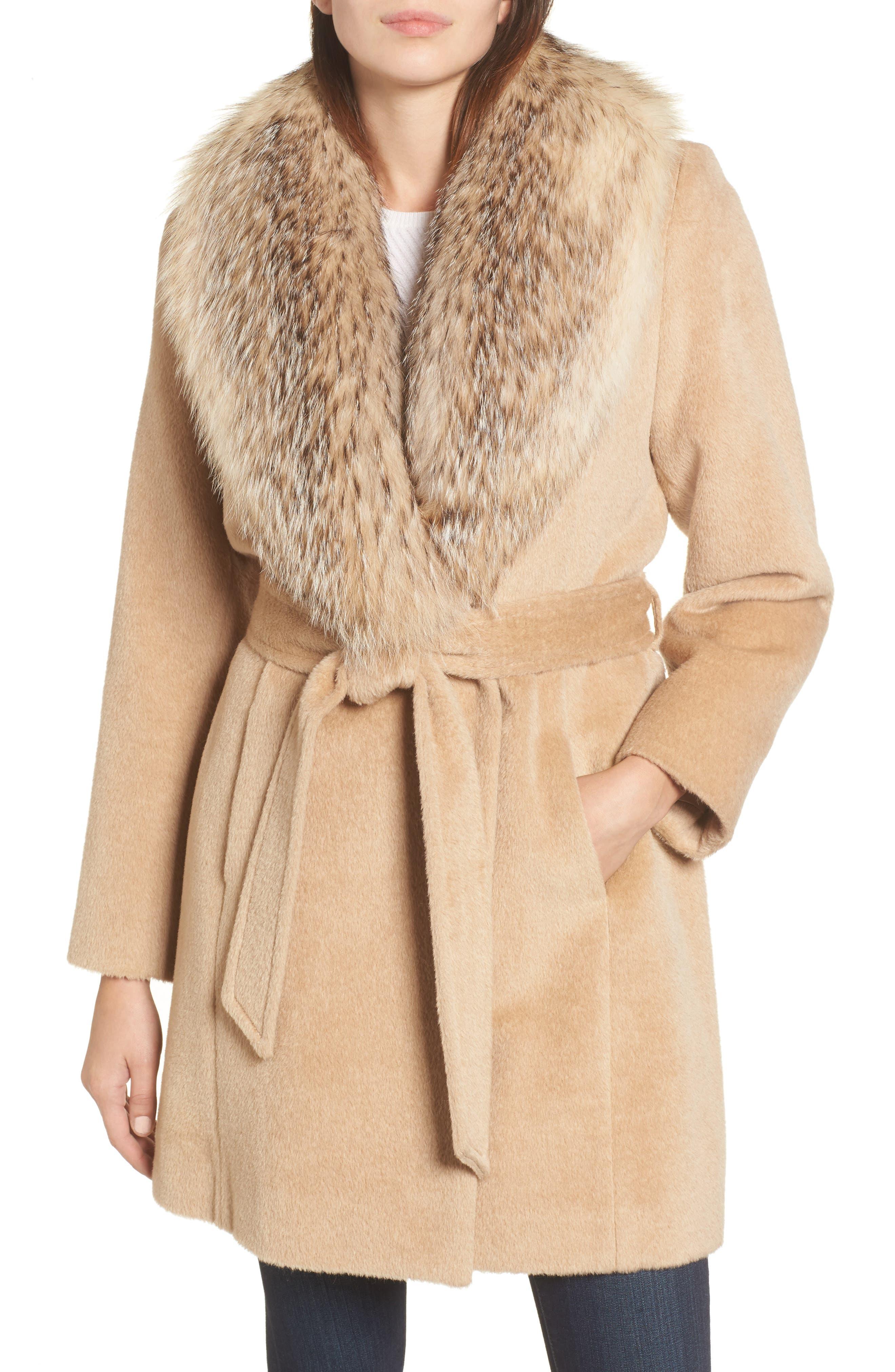 Sofia Cashmere Genuine Badger Fur Collar Wrap Coat