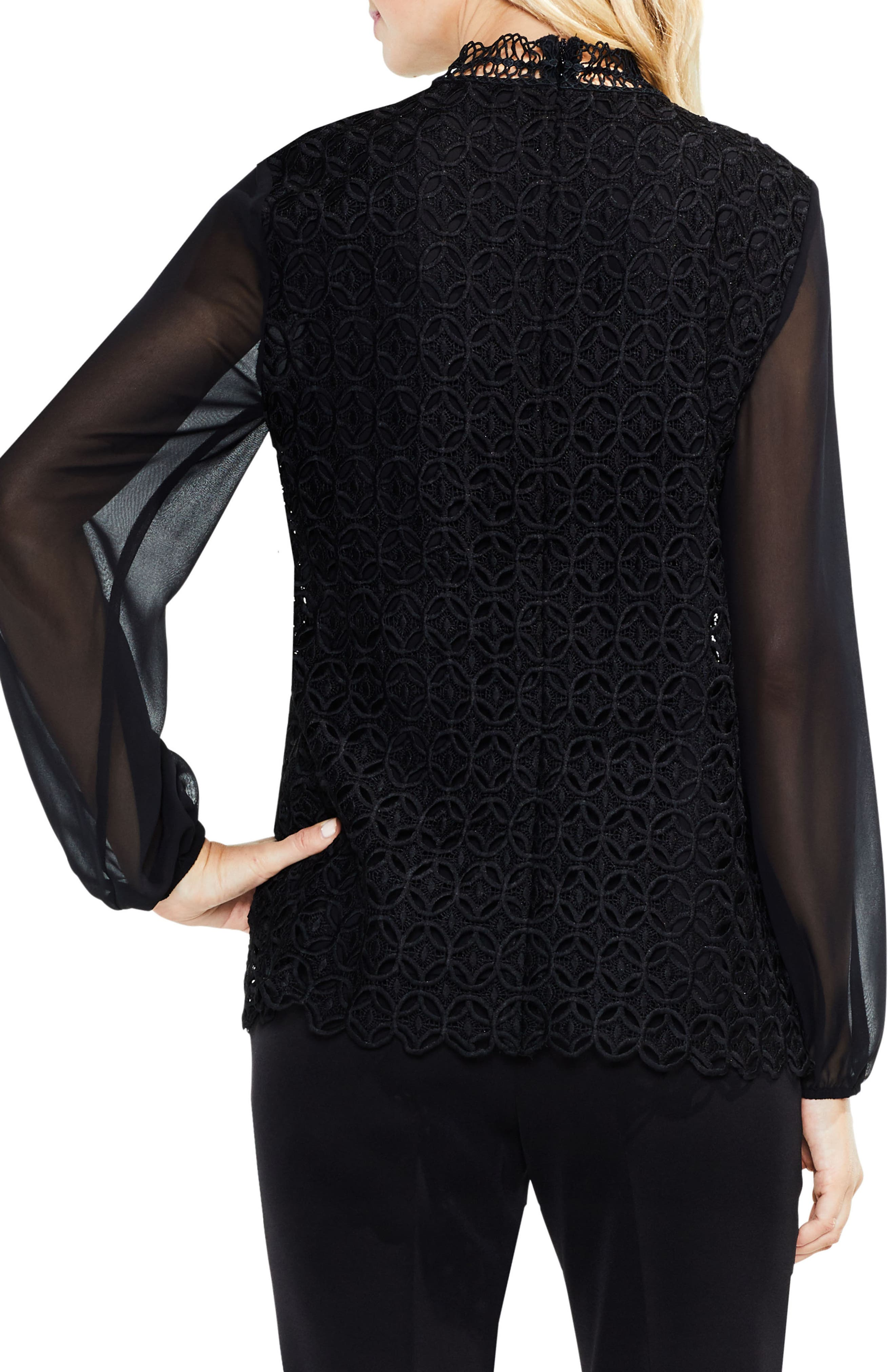 Alternate Image 2  - Vince Camuto Mock Neck Geo Lace Top
