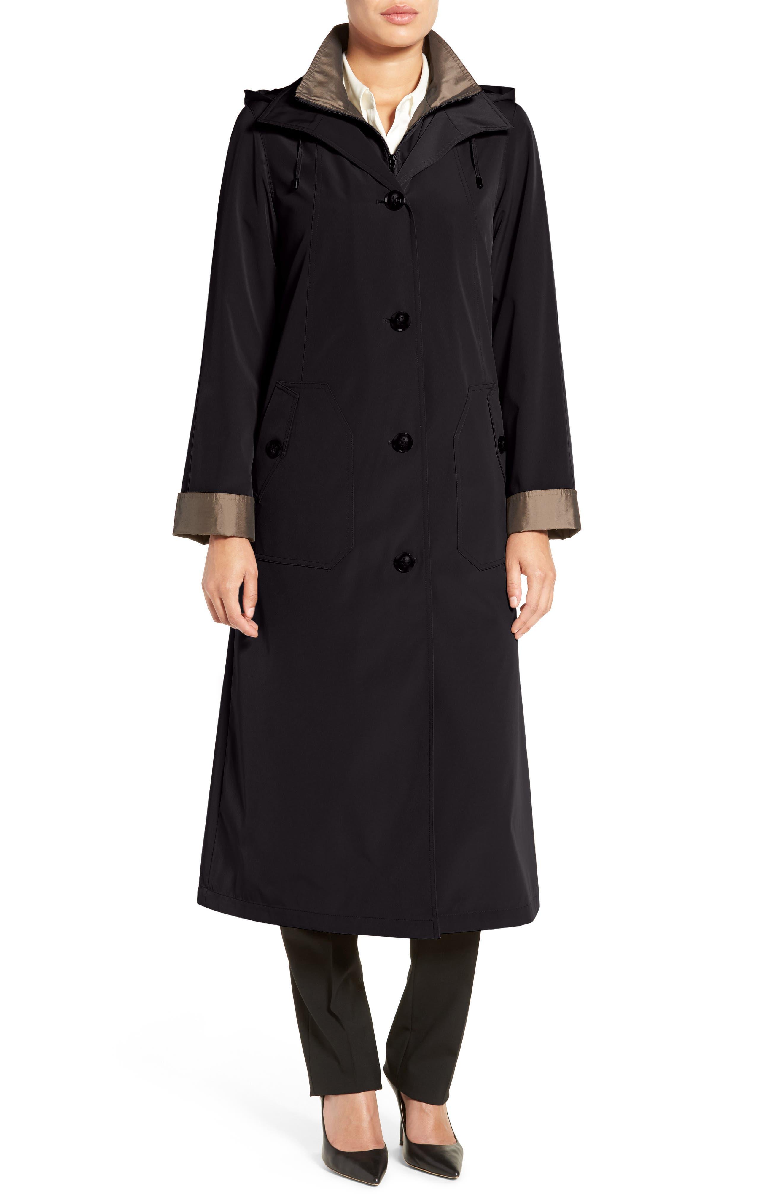 Full Length Two-Tone Silk Look Raincoat,                         Main,                         color, Black/ Bronze