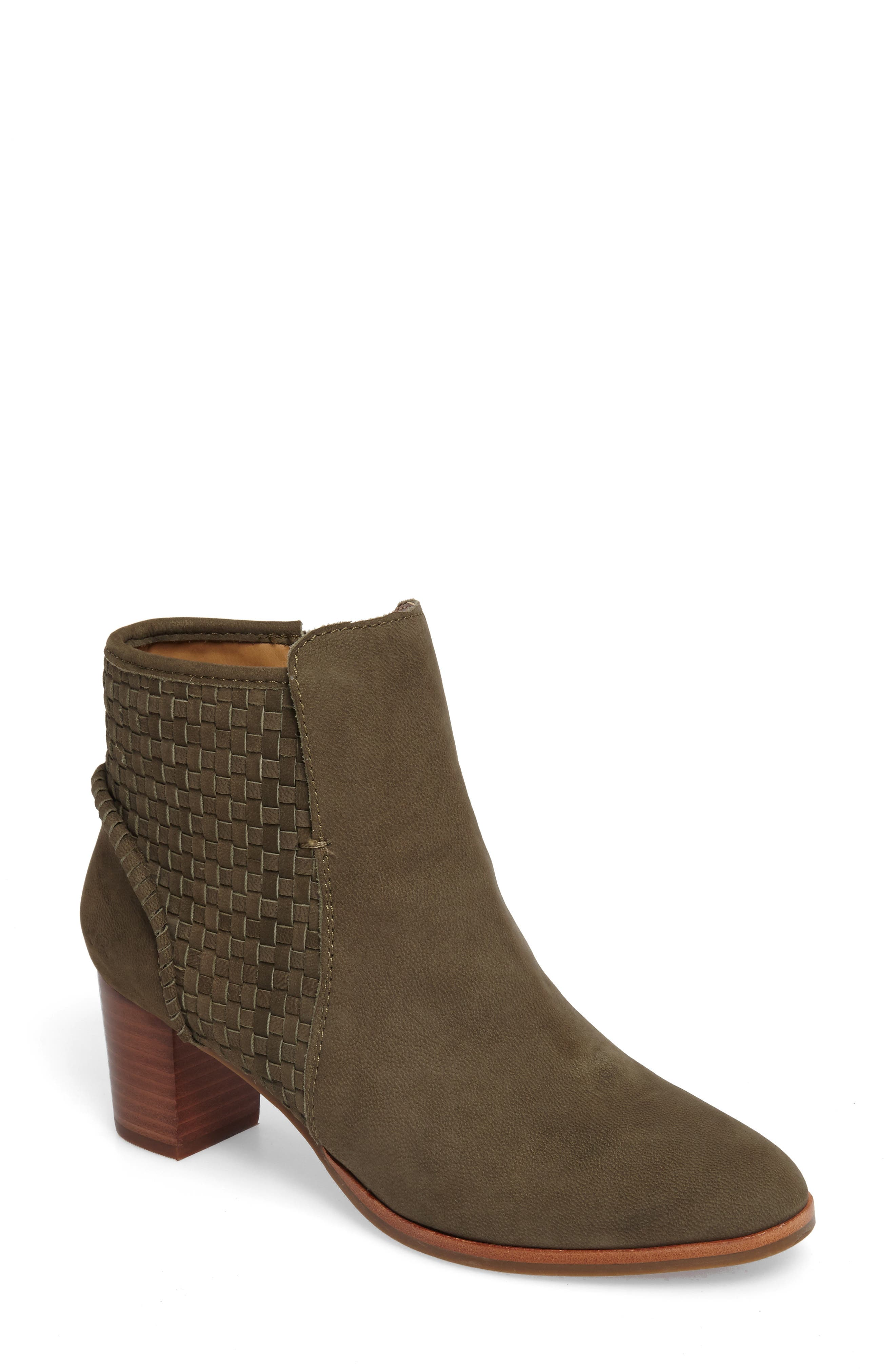 Deborah Bootie,                             Main thumbnail 1, color,                             Olive Leather