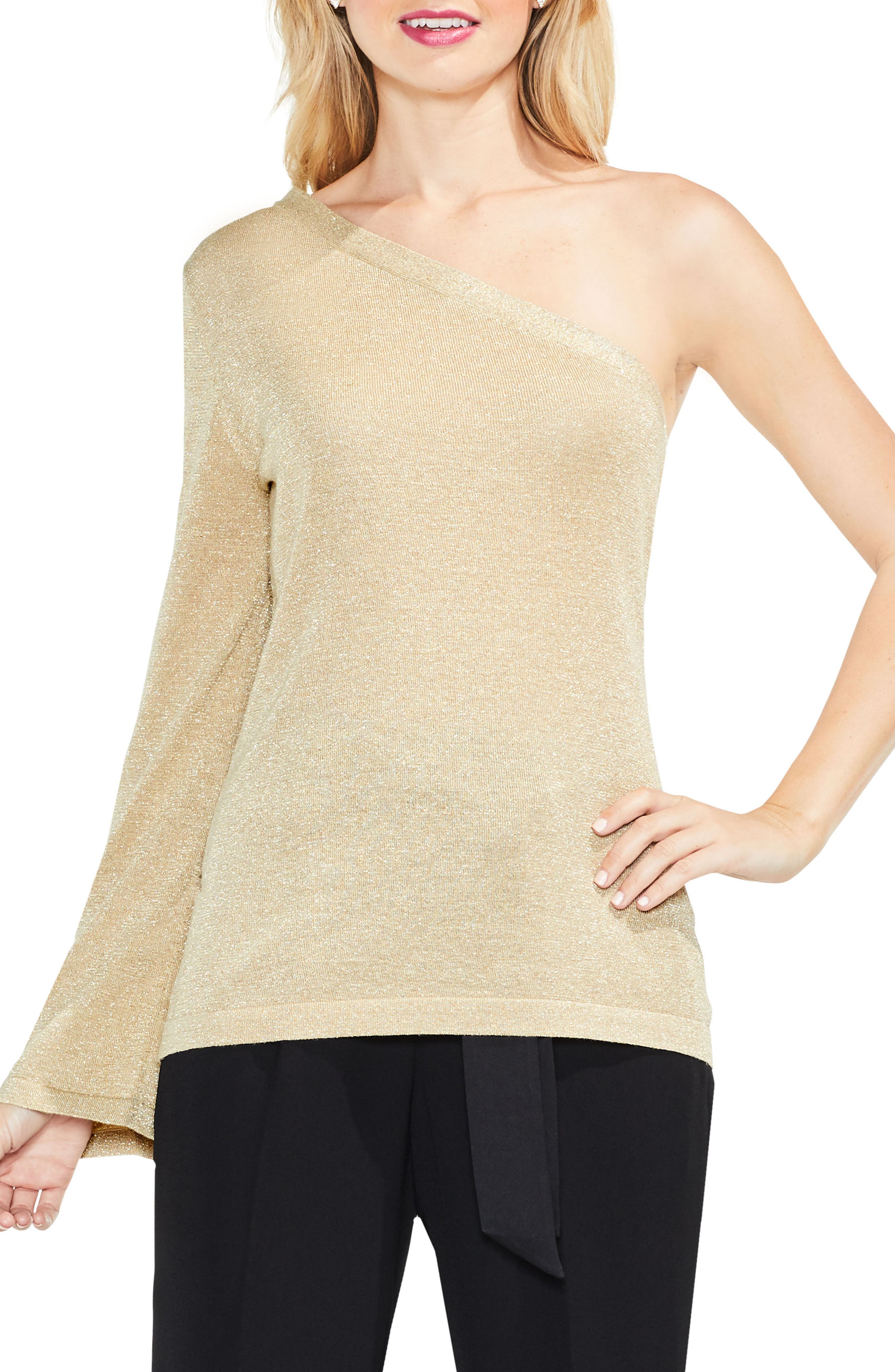 One-Shoulder Bell Sleeve Sweater,                         Main,                         color, Bisque