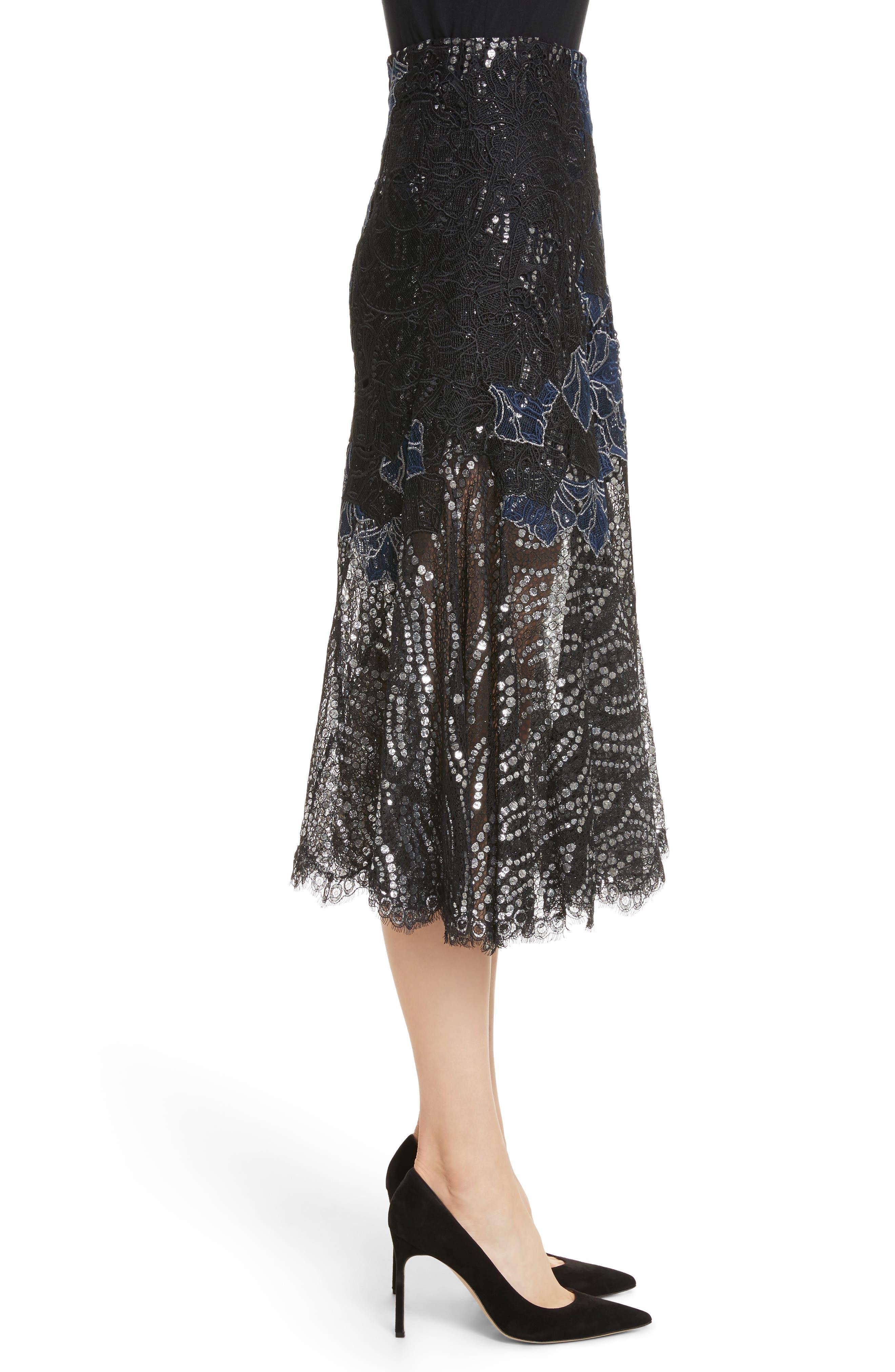 Dimensional Metallic Appliqué Trumpet Skirt,                             Alternate thumbnail 3, color,                             Black