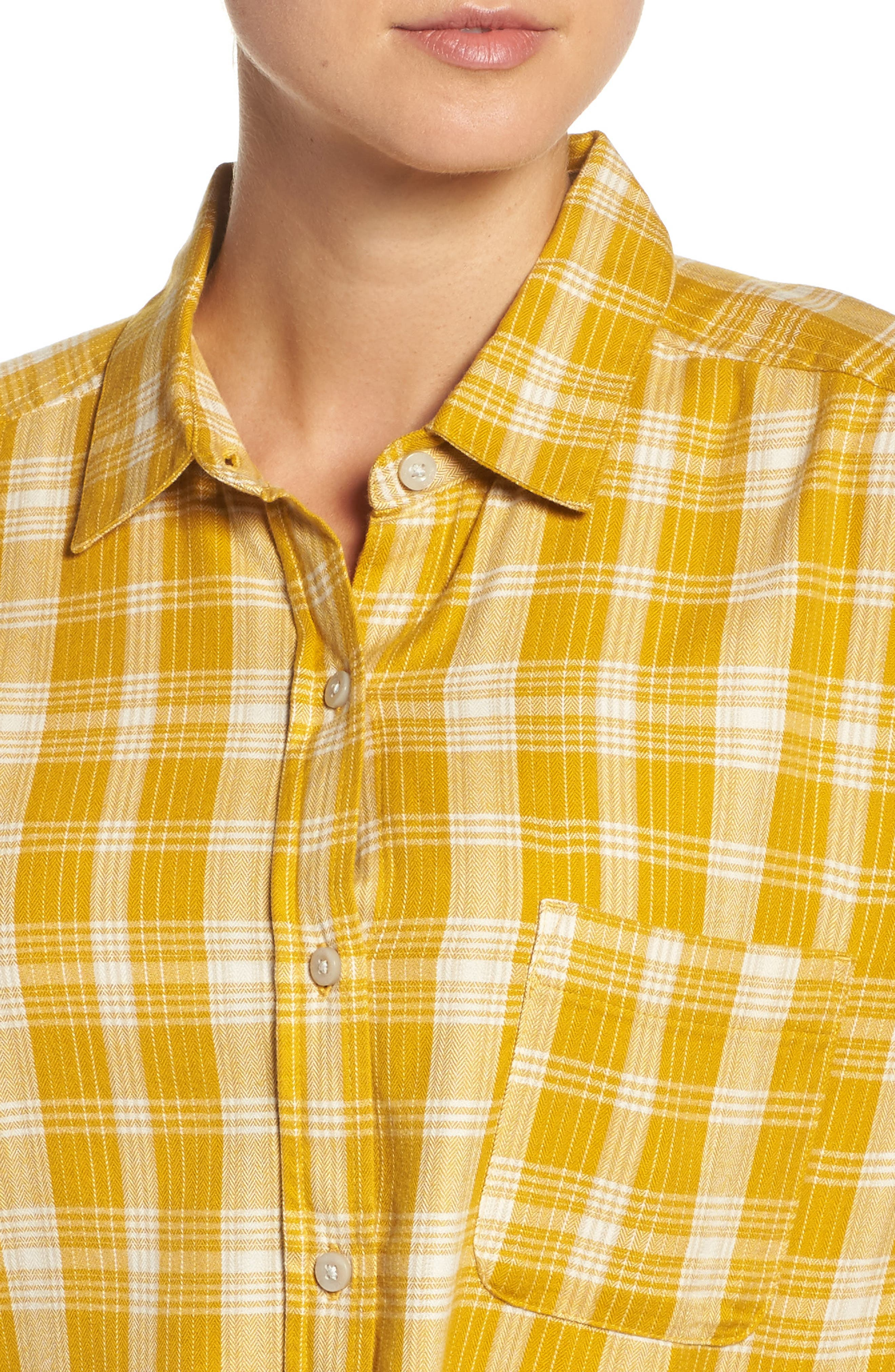 Boyfriend Shirt,                             Alternate thumbnail 4, color,                             Arrowwood Yellow Plaid