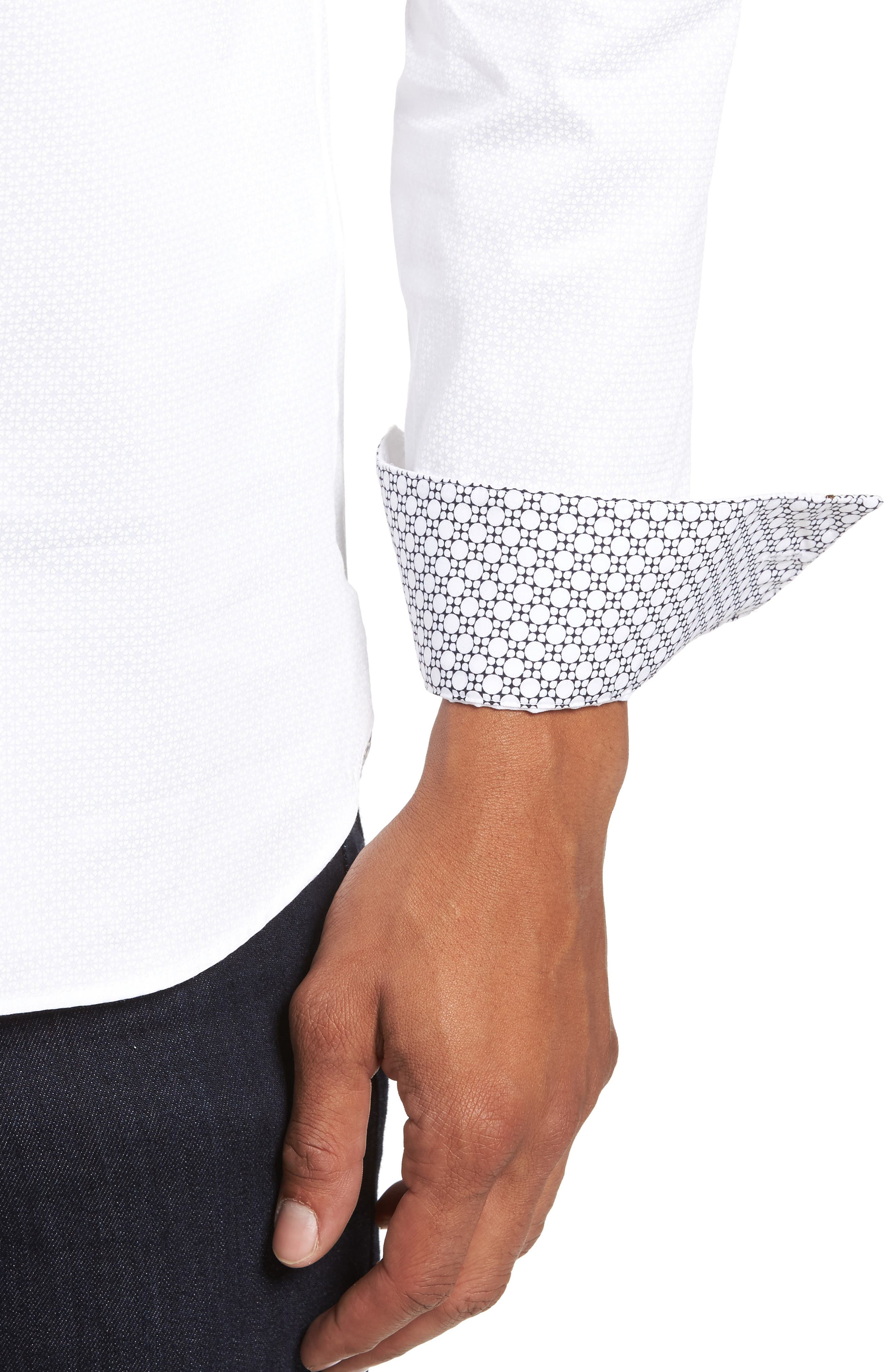 Strazbo Tonal Print Sport Shirt,                             Alternate thumbnail 4, color,                             White