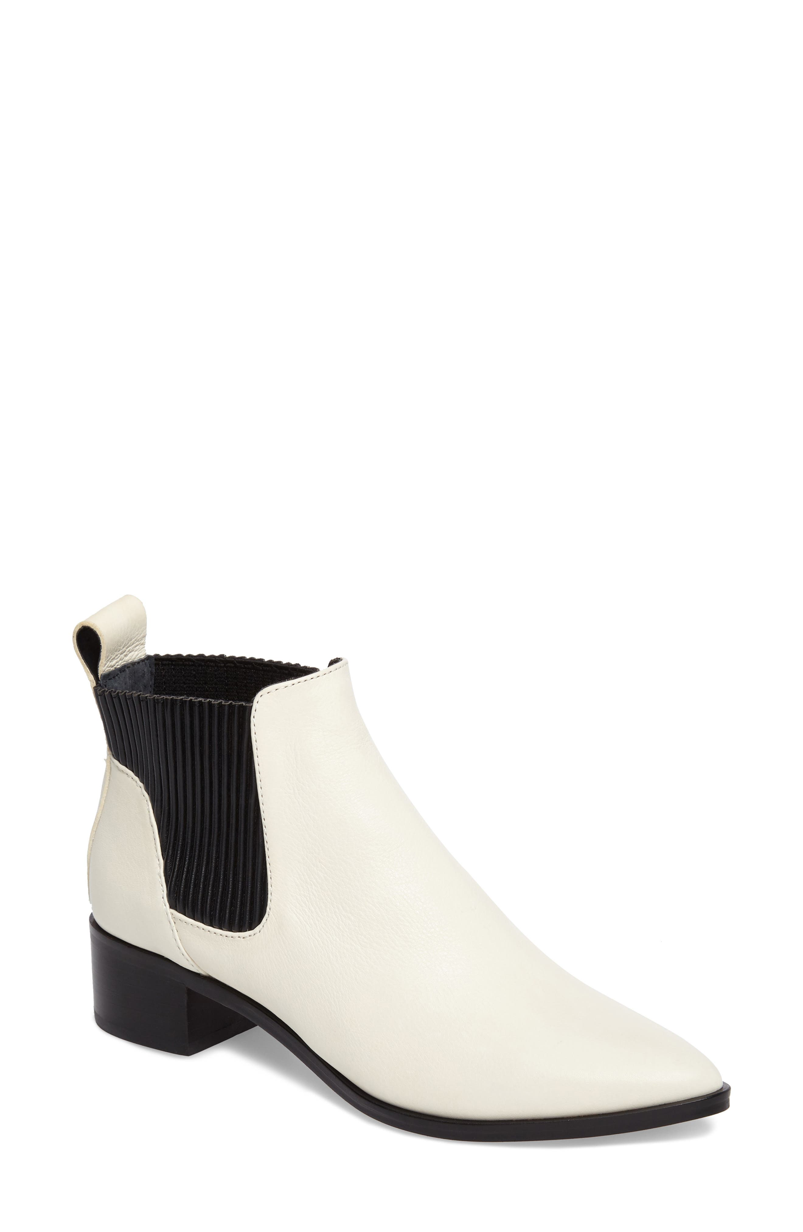 Macie Pointy Toe Chelsea Bootie,                             Main thumbnail 1, color,                             Off White Lea