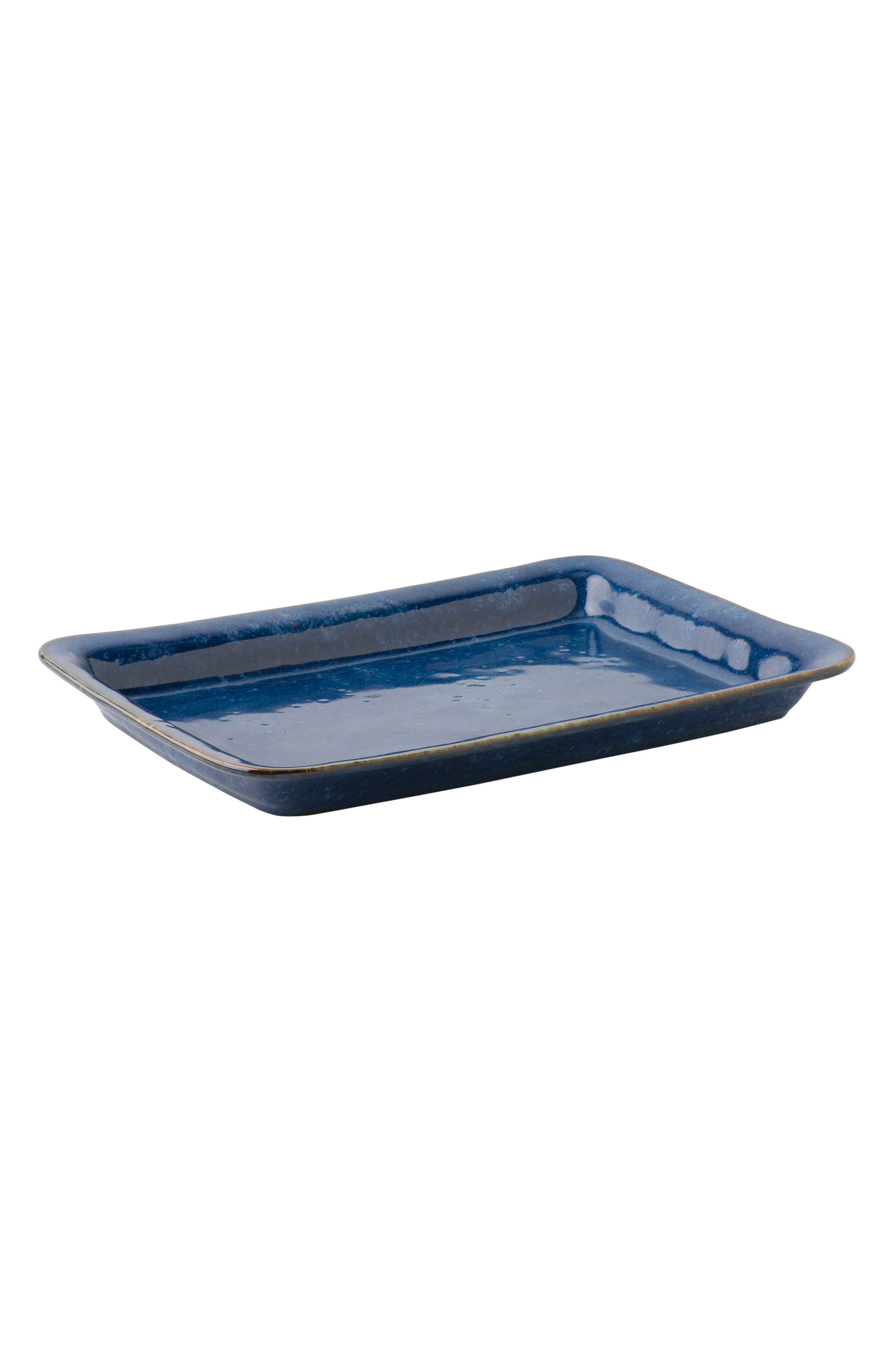 Puro Rectangular Ceramic Serving Tray,                         Main,                         color, Dappled Cobalt