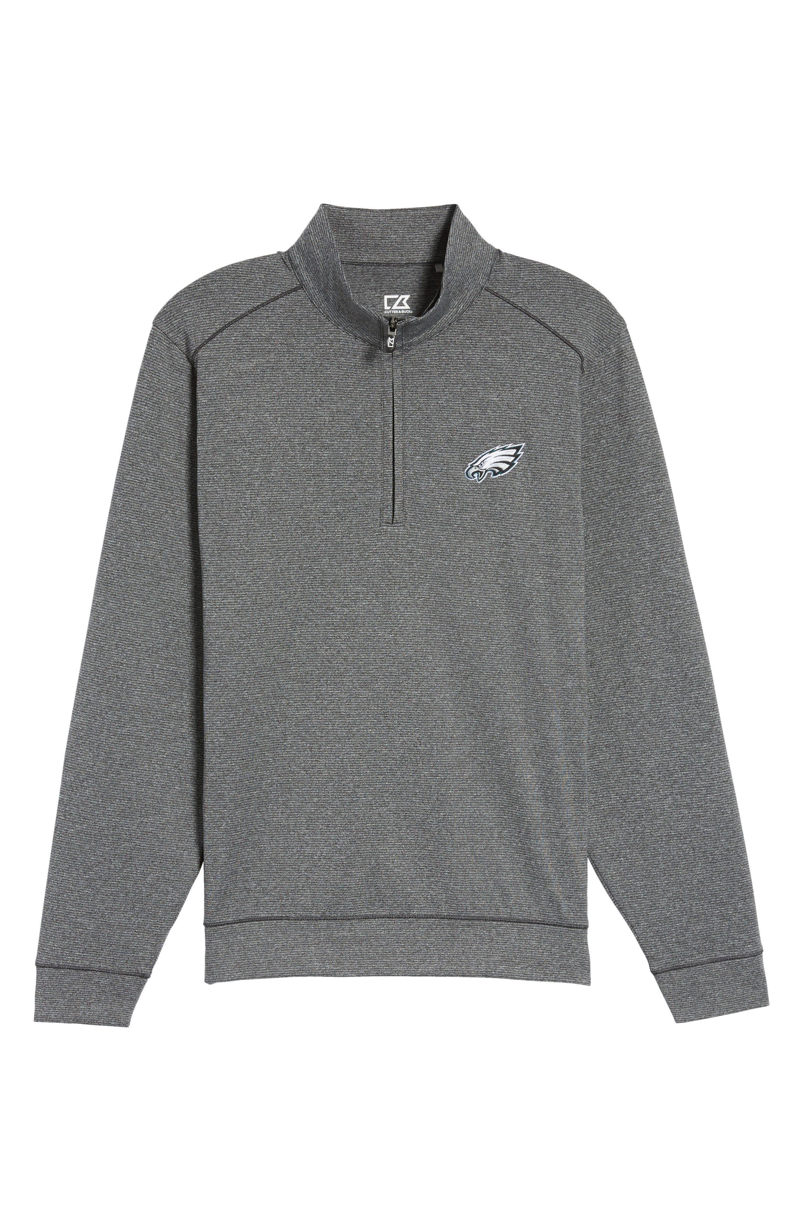 Shoreline - Philadelphia Eagles Half Zip Pullover,                             Alternate thumbnail 6, color,                             Charcoal Heather