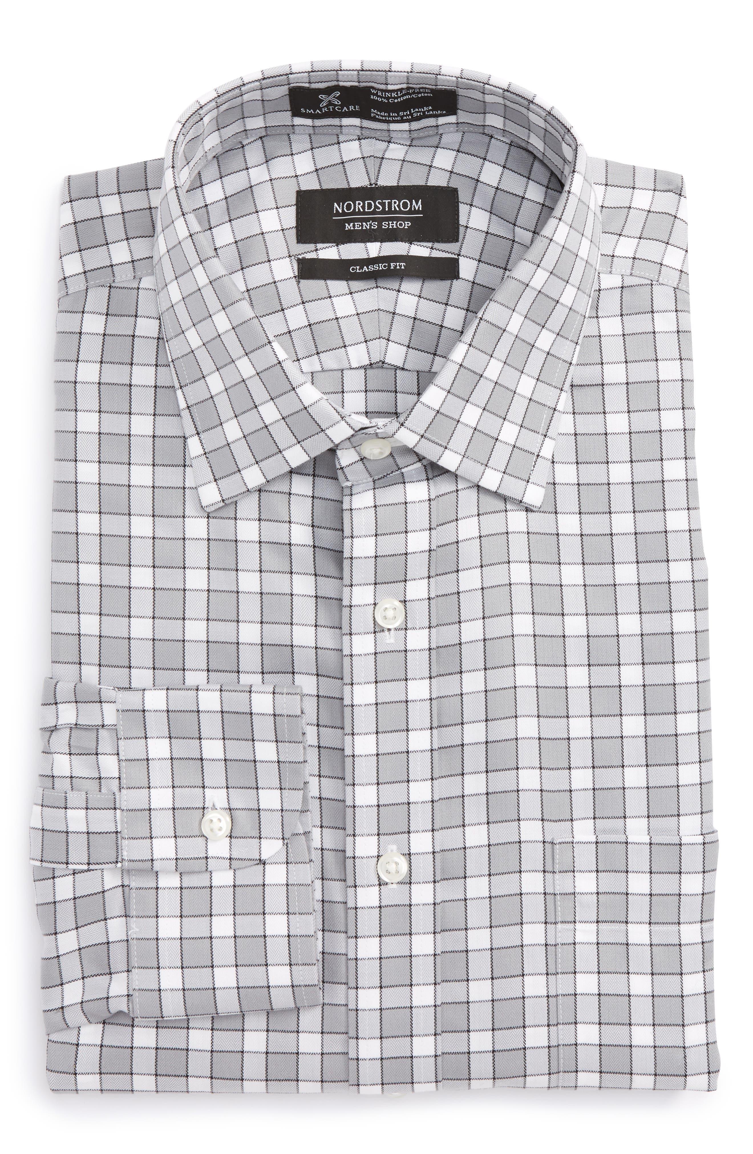 Smartcare<sup>™</sup> Classic Fit Check Dress Shirt,                         Main,                         color, Grey Sleet