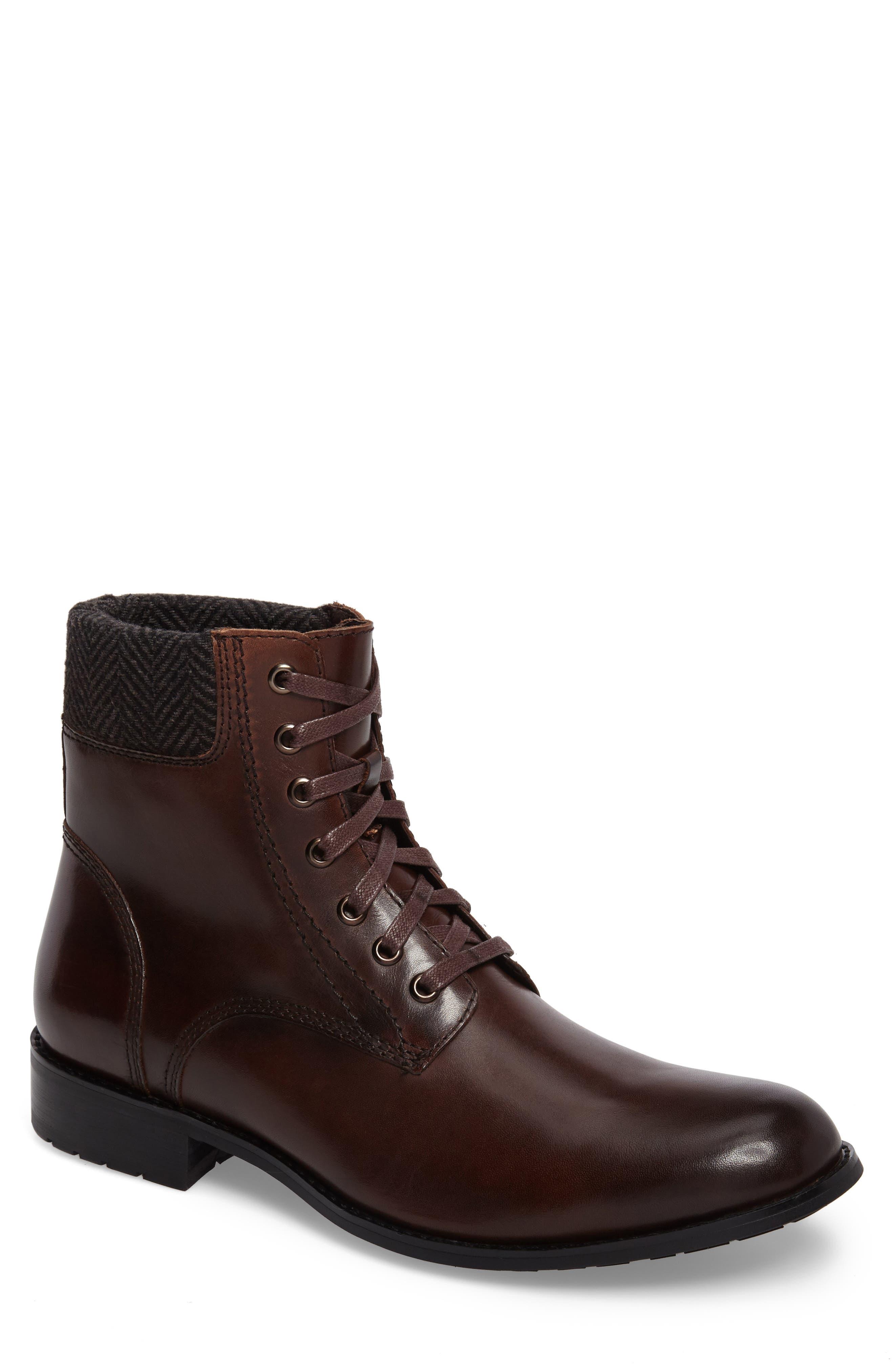 Saar Plain Toe Boot,                         Main,                         color, Brown Leather