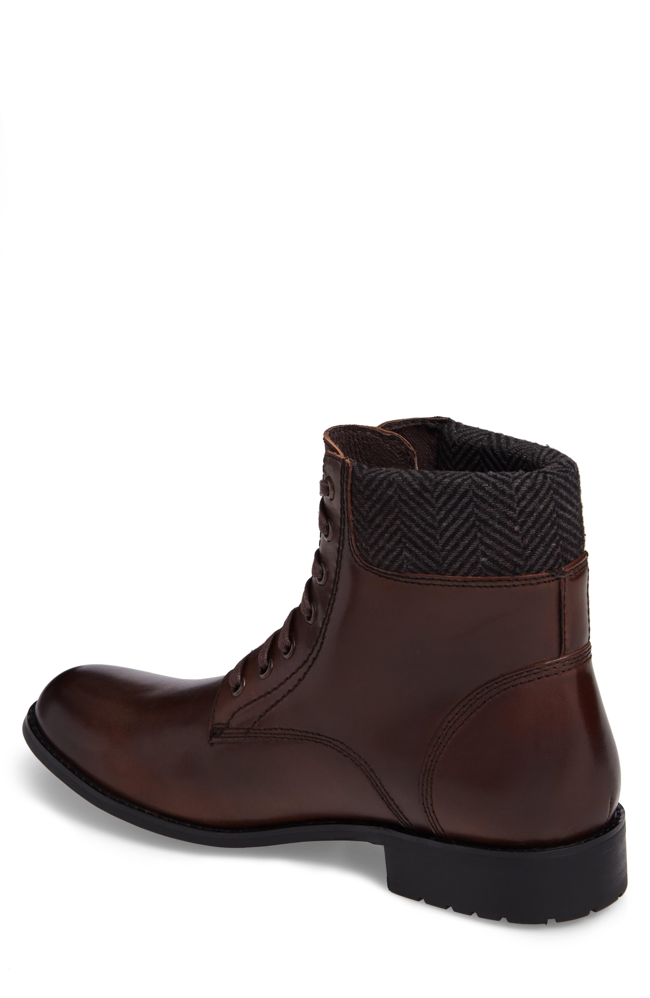 Saar Plain Toe Boot,                             Alternate thumbnail 2, color,                             Brown Leather