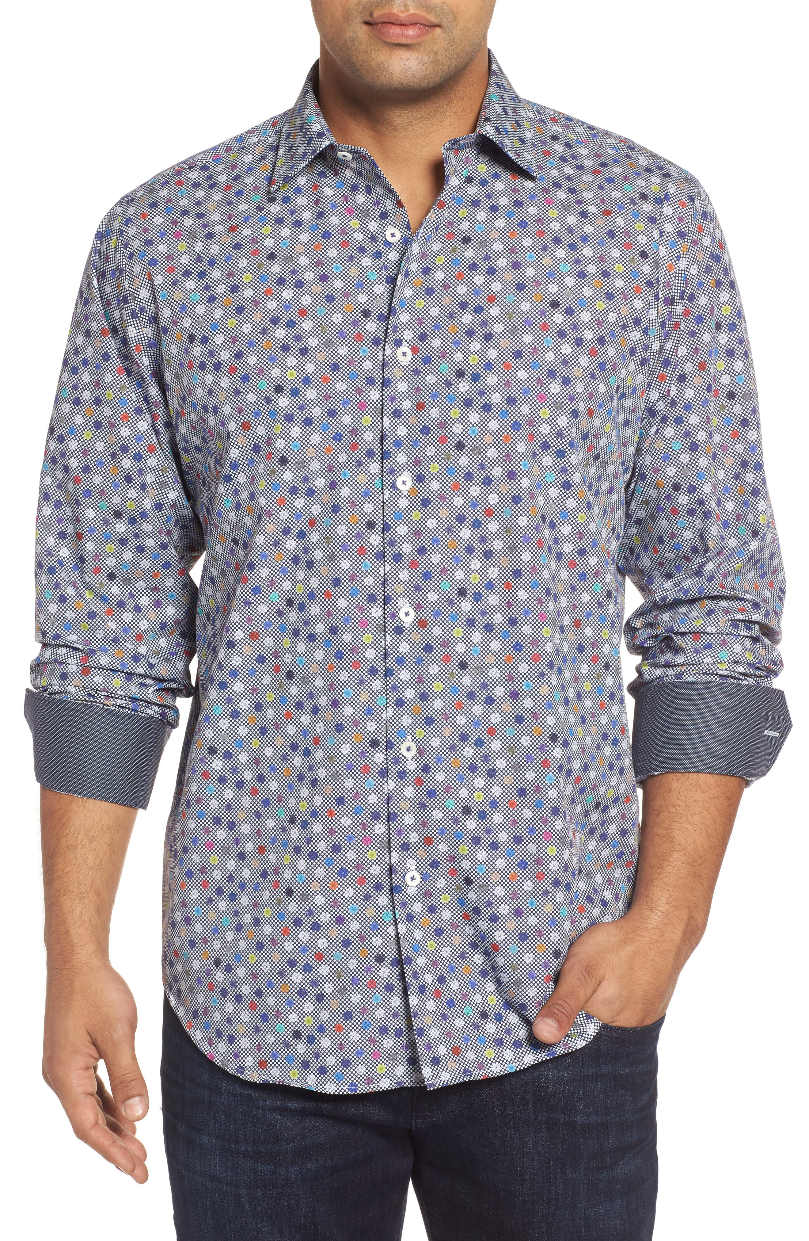 Classic Fit Flower Print Sport Shirt,                         Main,                         color, Midnight
