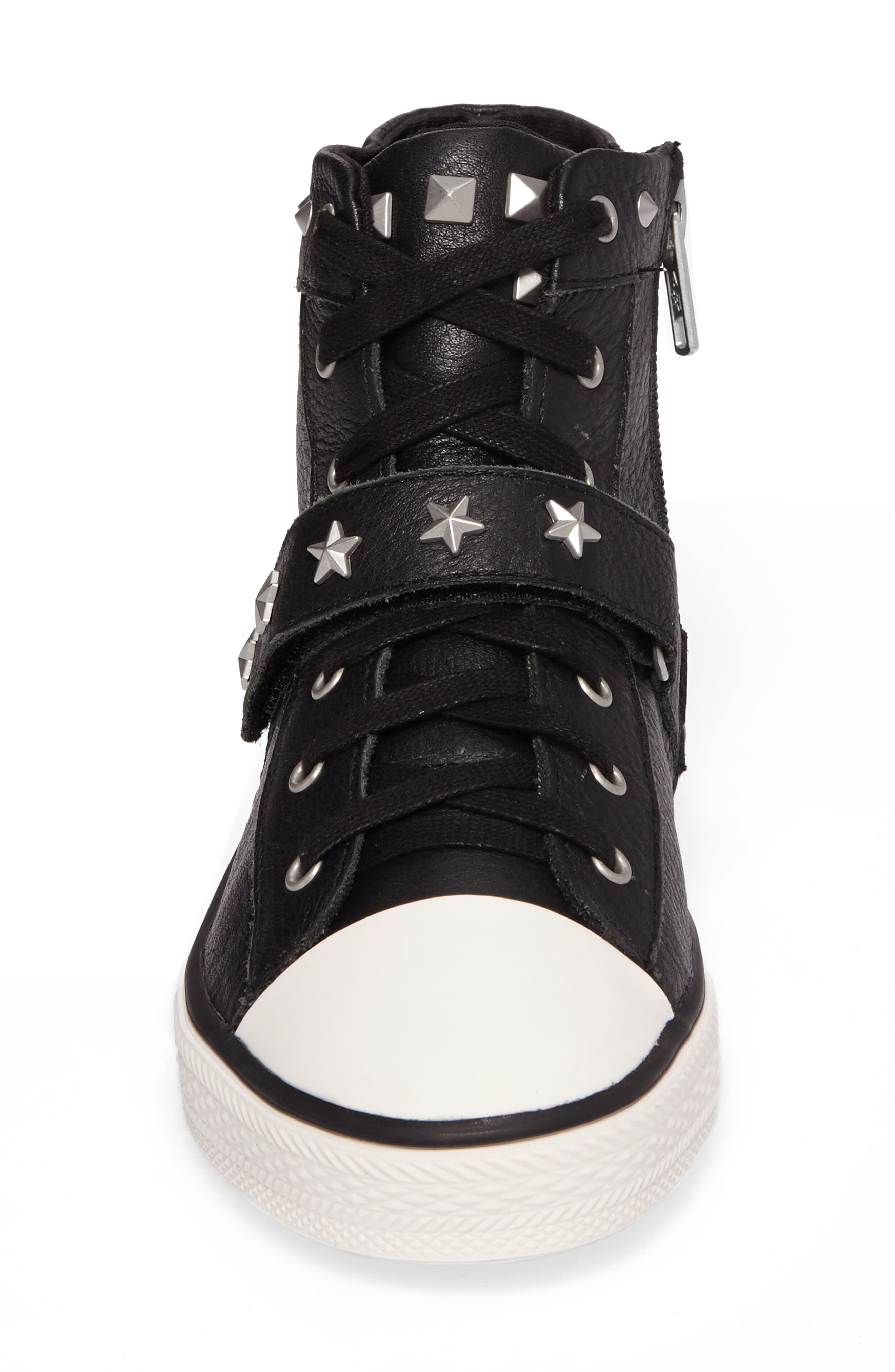 Vava Curve Studded High Top Sneaker,                             Alternate thumbnail 4, color,                             Black Leather