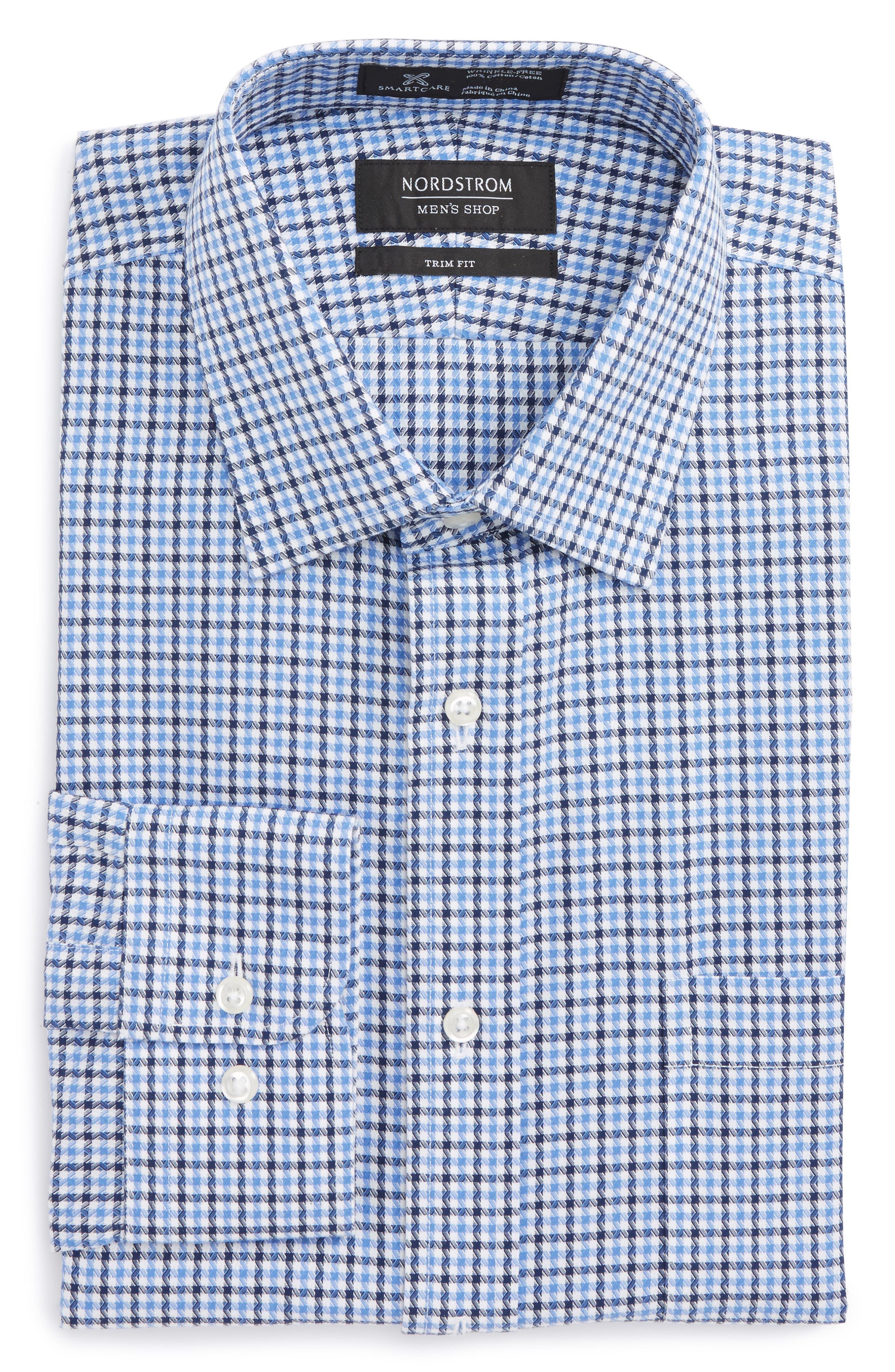 Smartcare<sup>™</sup> Trim Fit Check Dress Shirt,                             Main thumbnail 1, color,                             Navy Evening