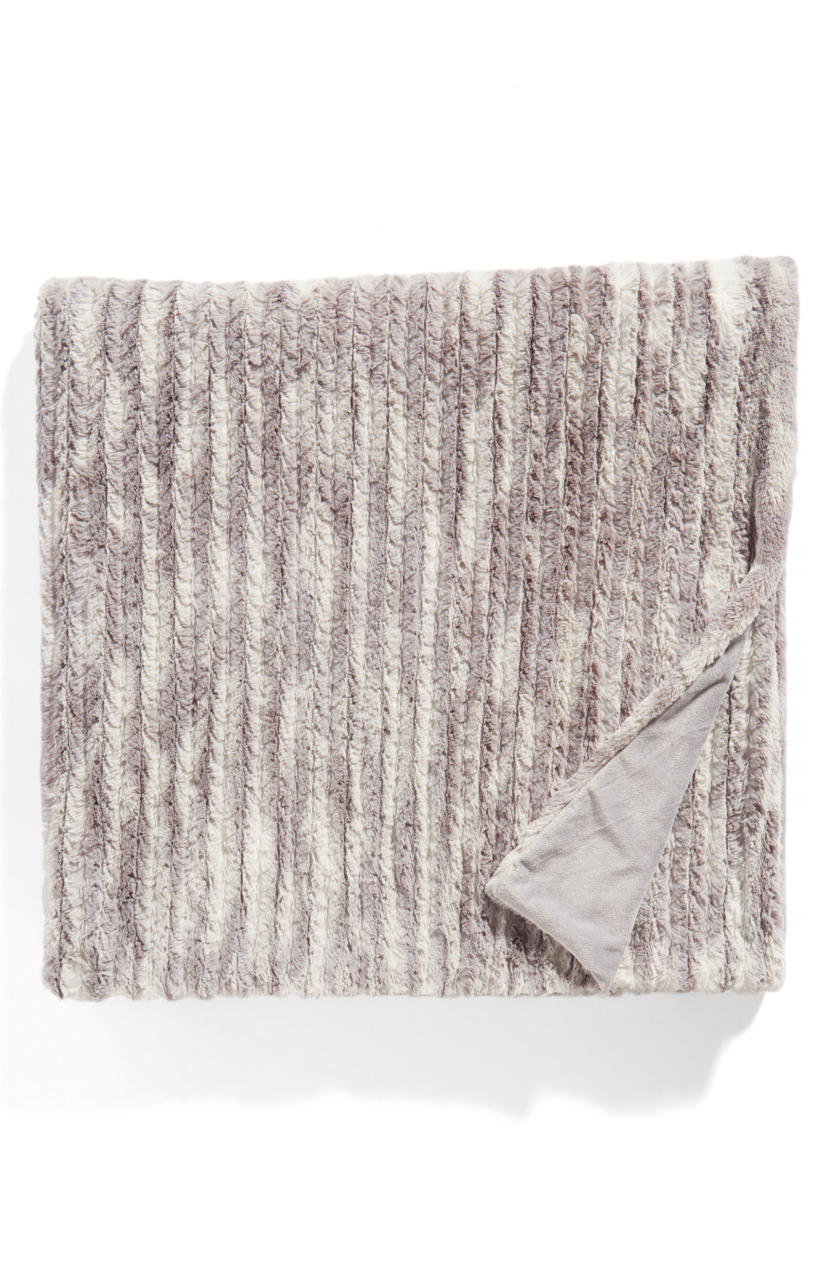 Nordstrom Cozy Plush Faux Fur Blanket,                         Main,                         color, Grey Excalibur Print