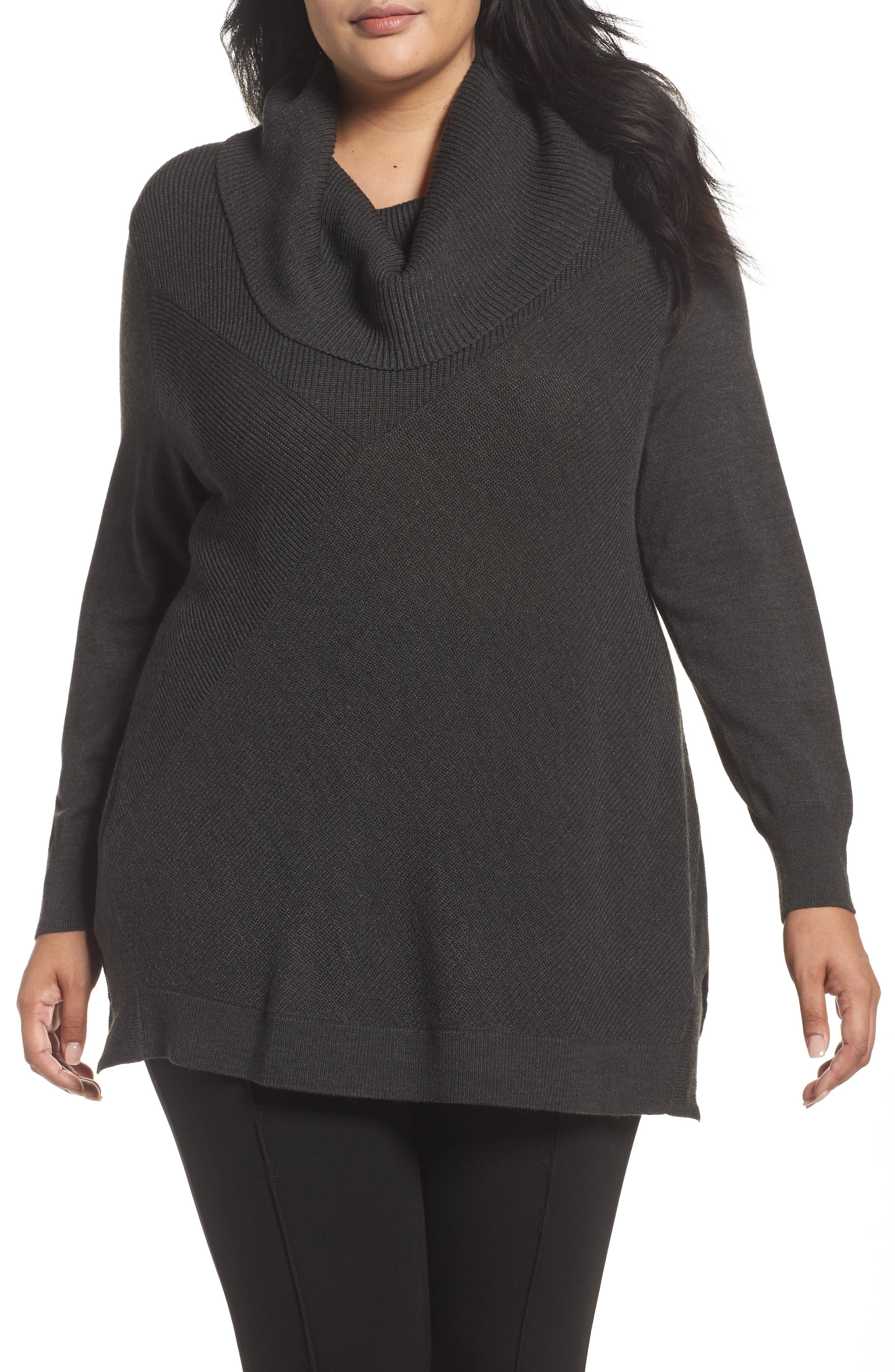 Cowl Neck Ribbed Trim Pullover,                             Main thumbnail 1, color,                             Grey Dark Charcoal Heather
