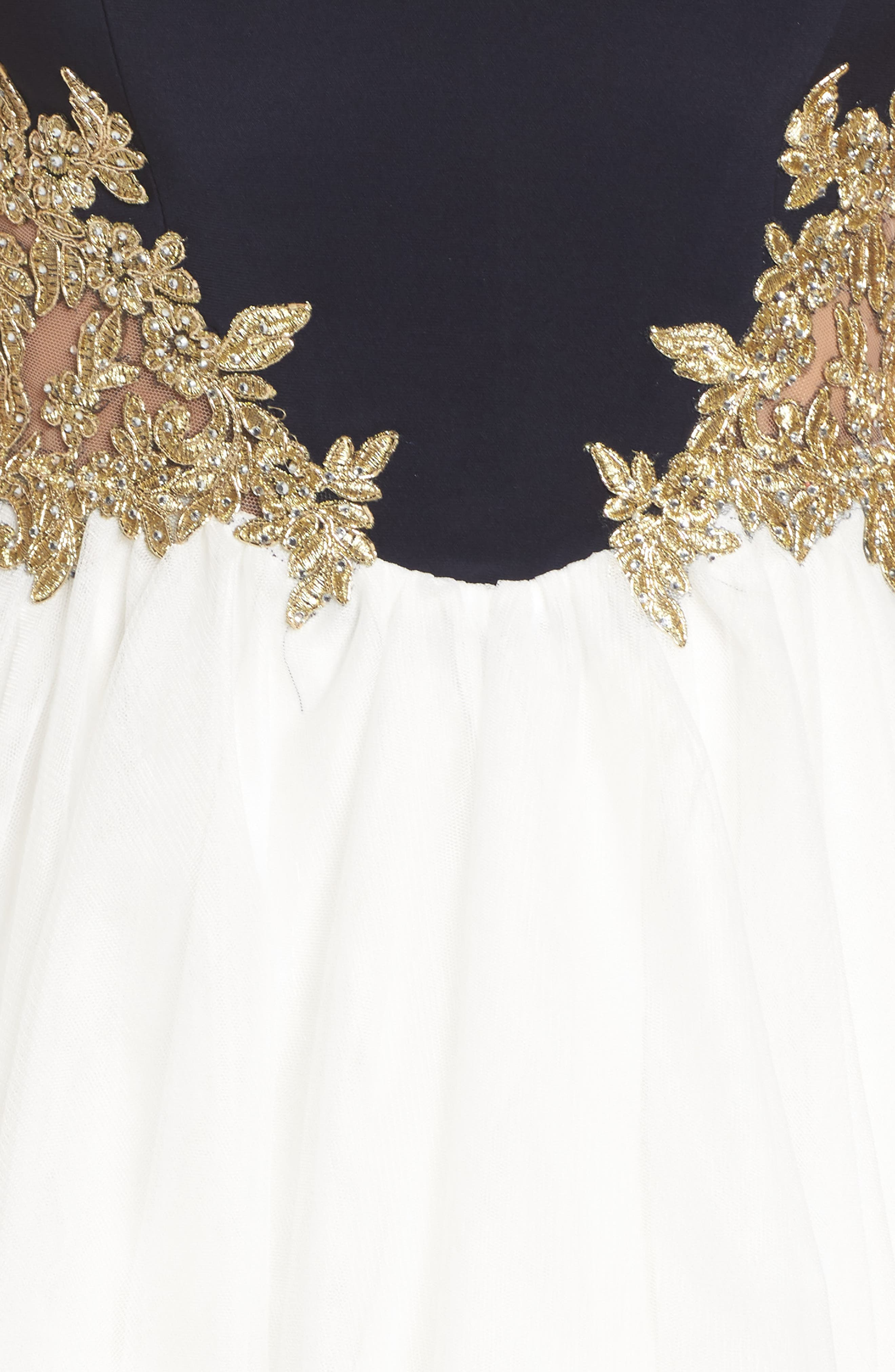 Colorblock Appliqué Skater Dress,                             Alternate thumbnail 4, color,                             Navy/ Ivory/ Gold