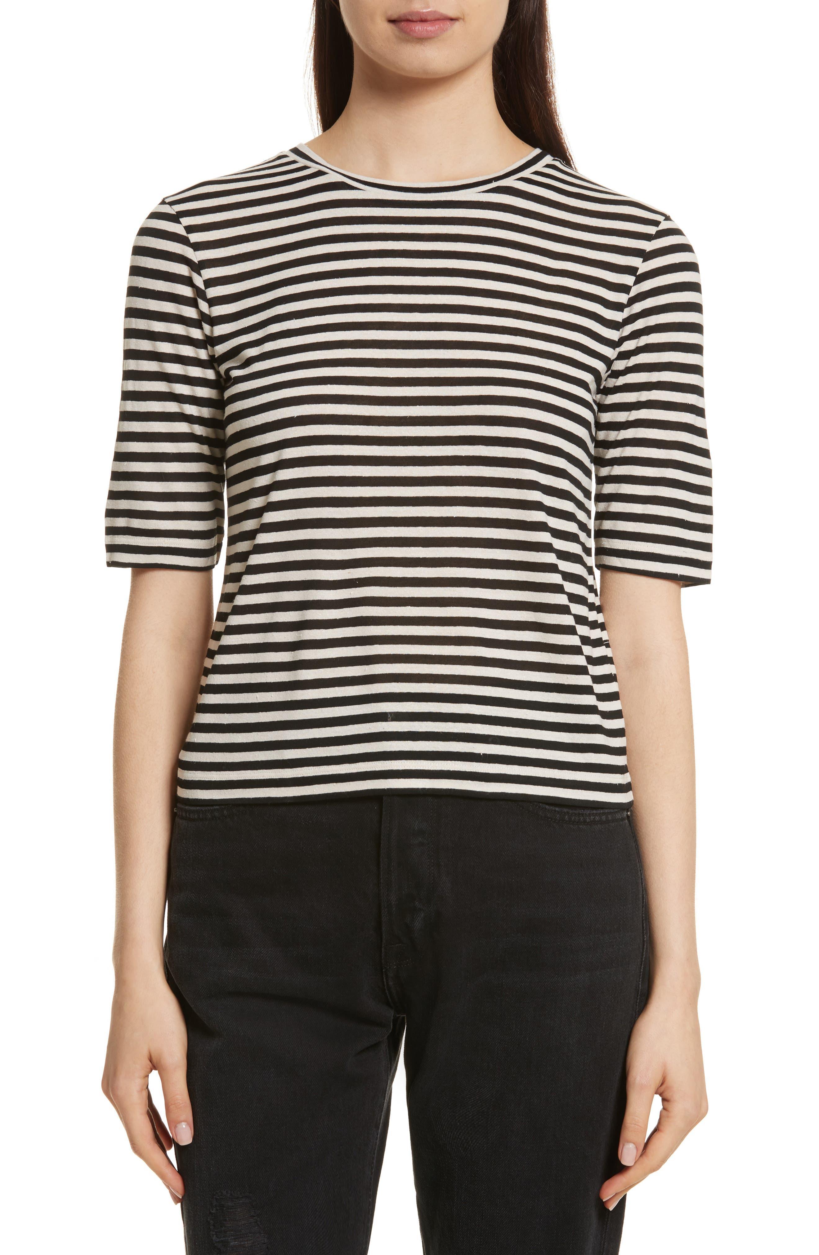 Midi Stripe Crop Tee,                         Main,                         color, Natural/ Black