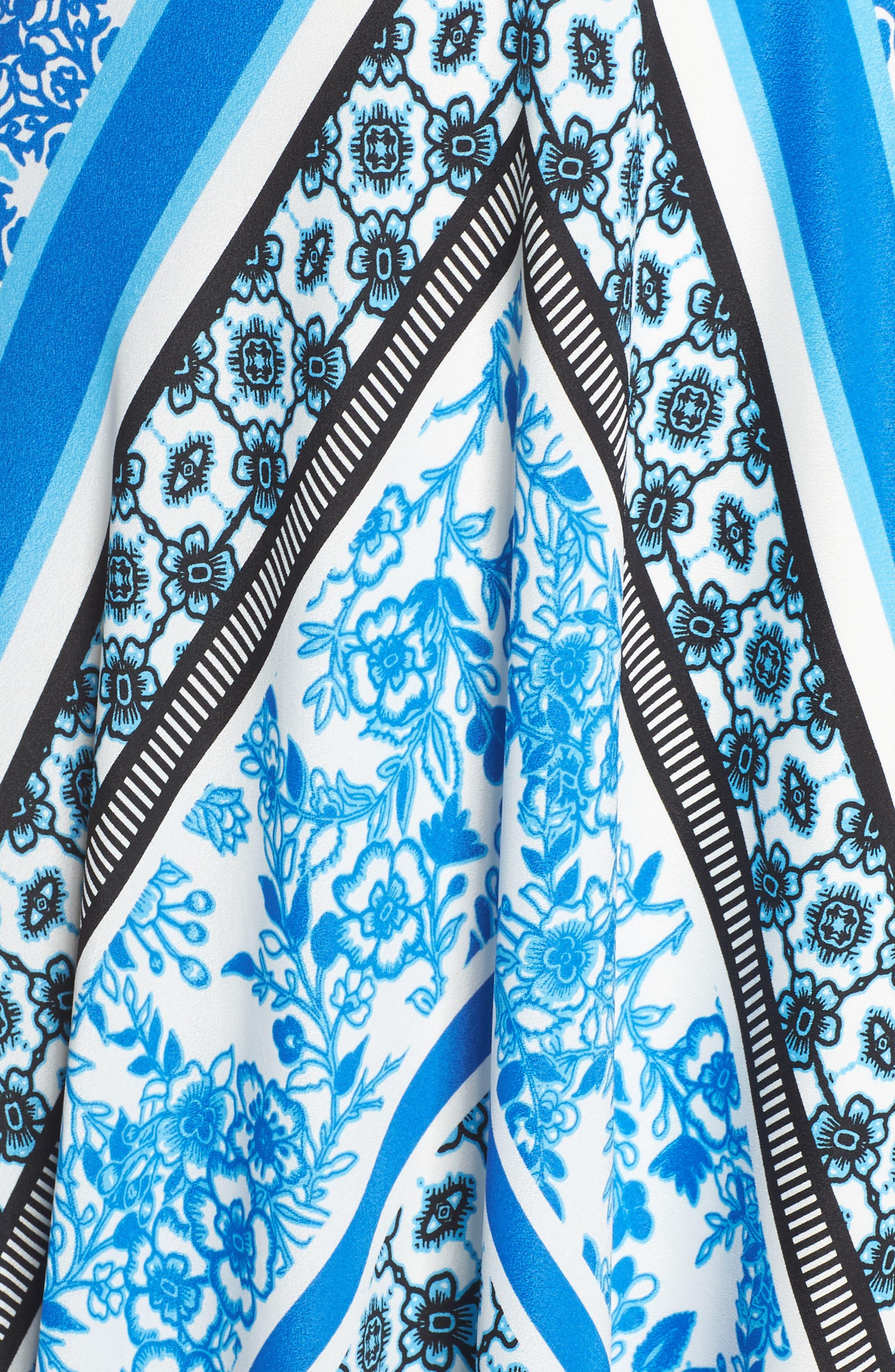 Alternate Image 5  - Eliza J Scarf Print Halter Crêpe de Chine Maxi Dress (Regular & Petite)