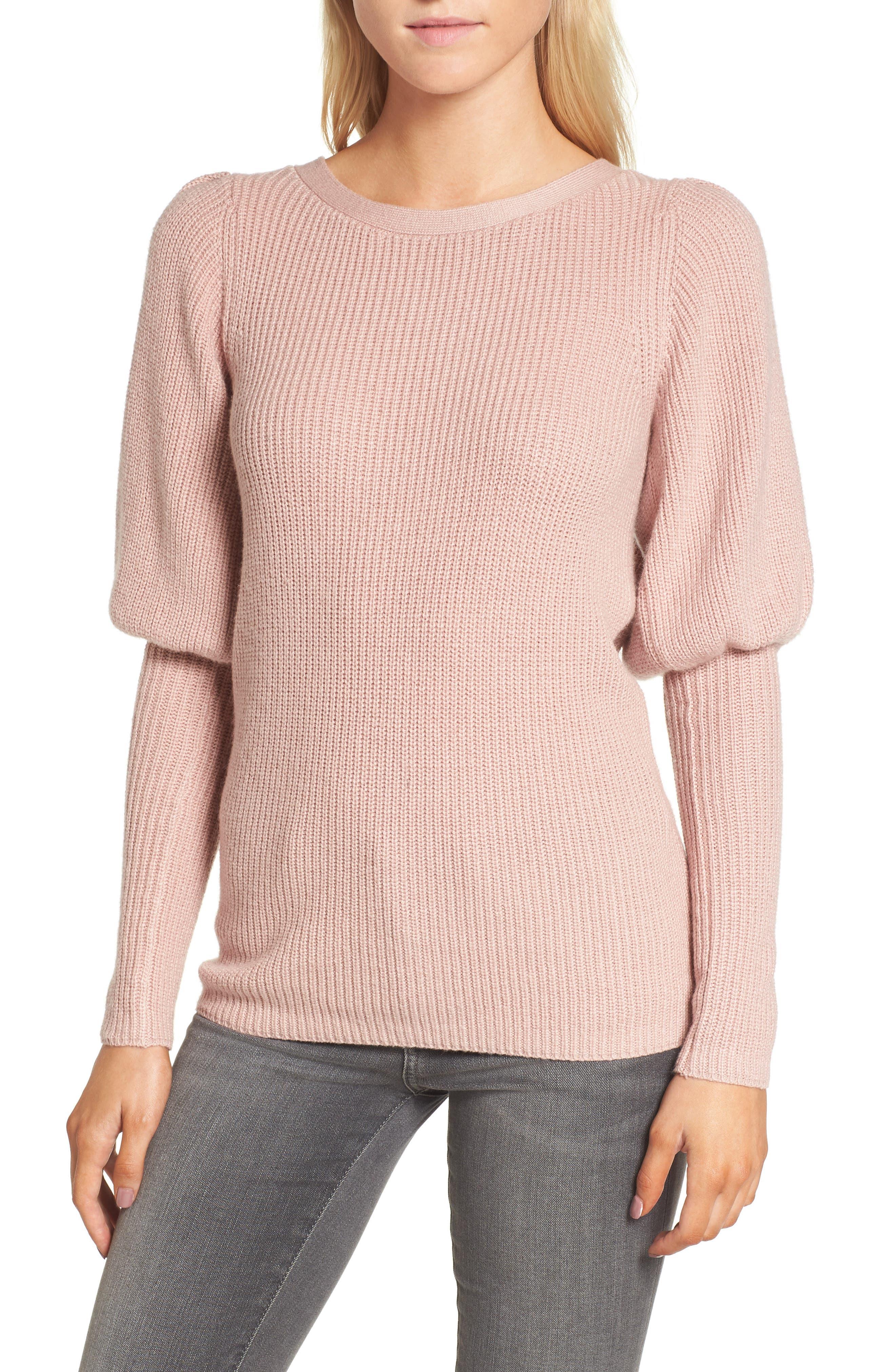 Puff Sleeve Sweatser,                             Main thumbnail 1, color,                             Pink Adobe