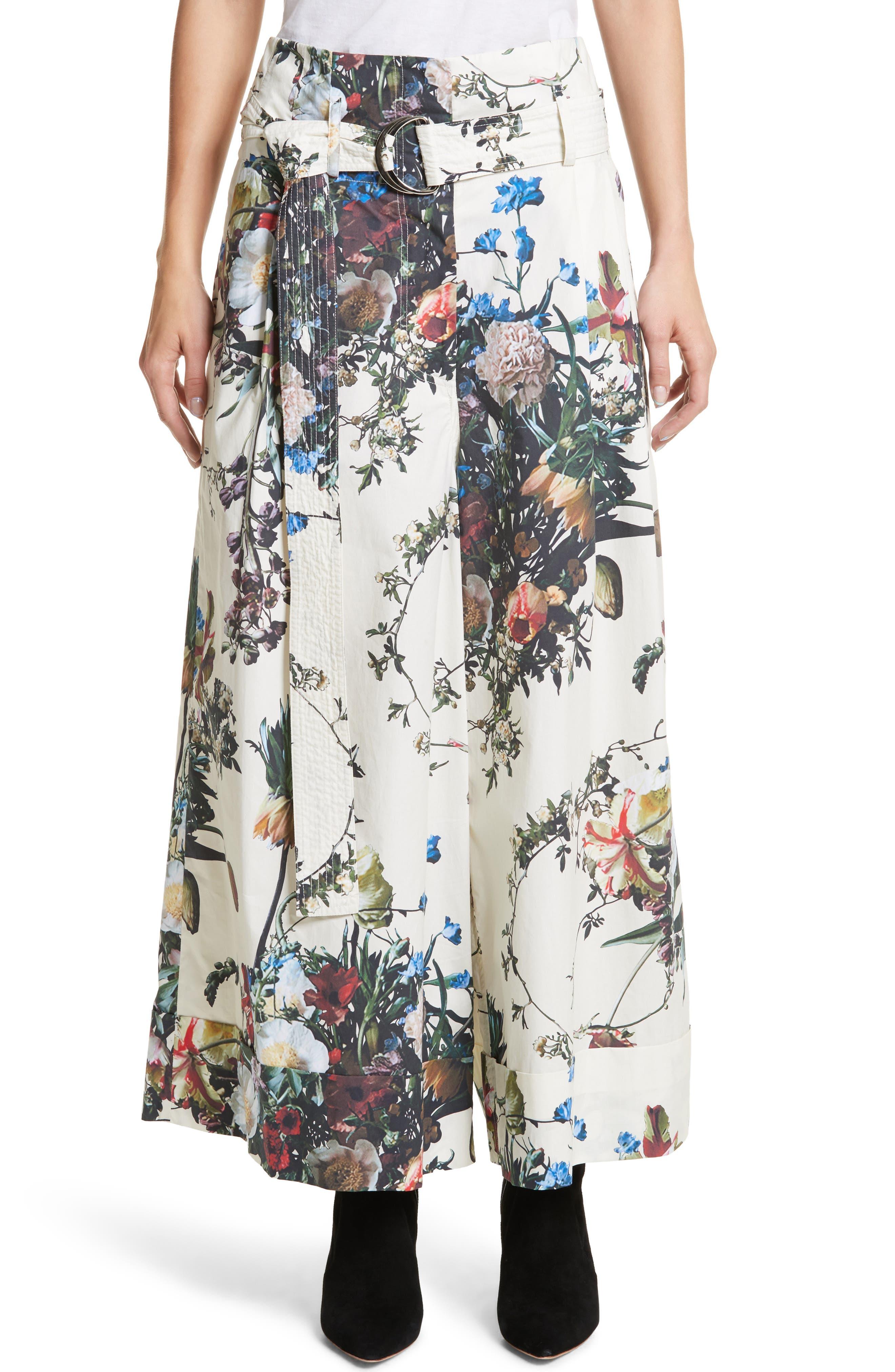 Adam Lippes Floral Print Cotton Poplin Tie Waist Pants