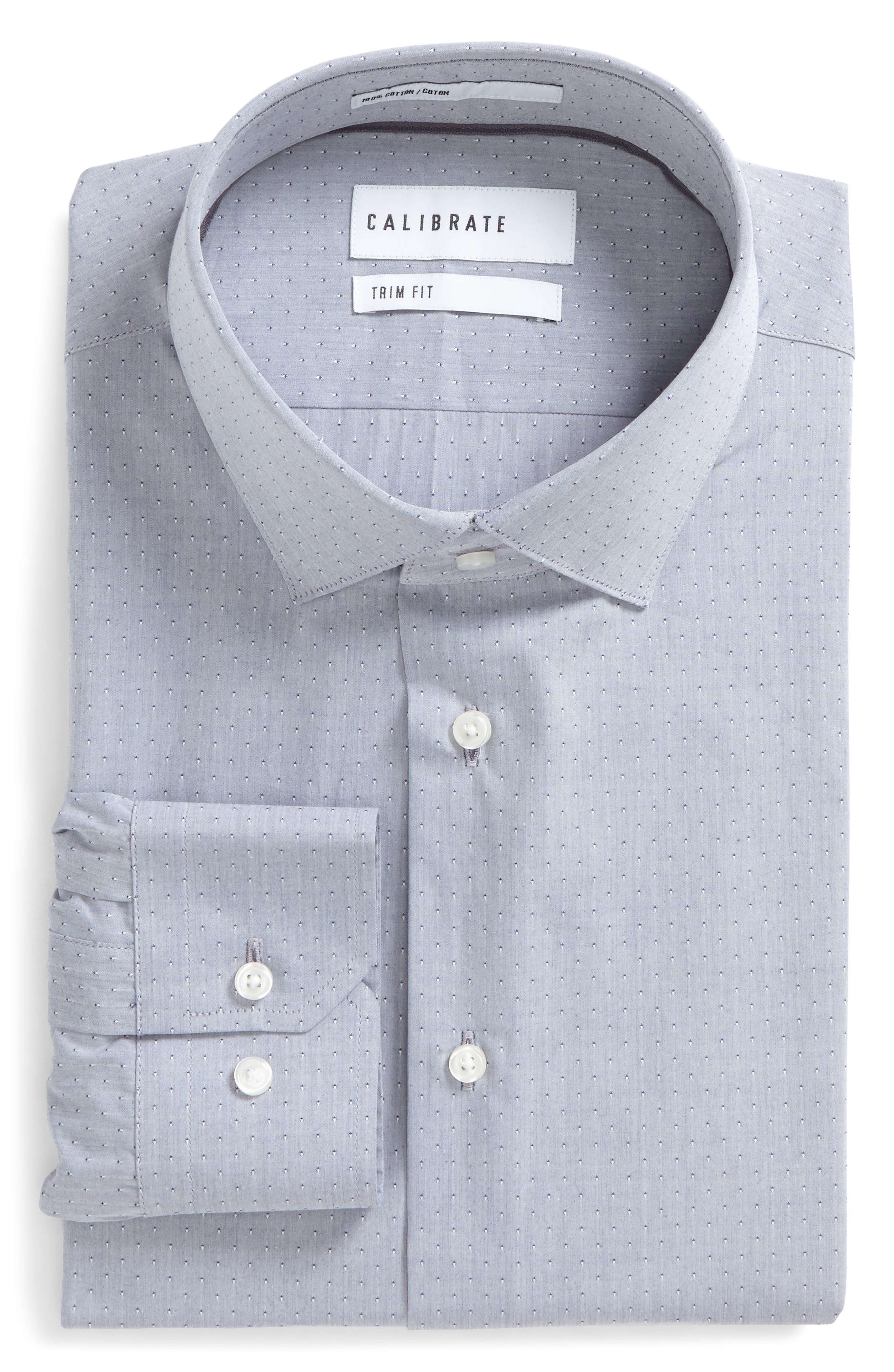 Trim Fit Dobby Dress Shirt,                         Main,                         color, Grey Quarry
