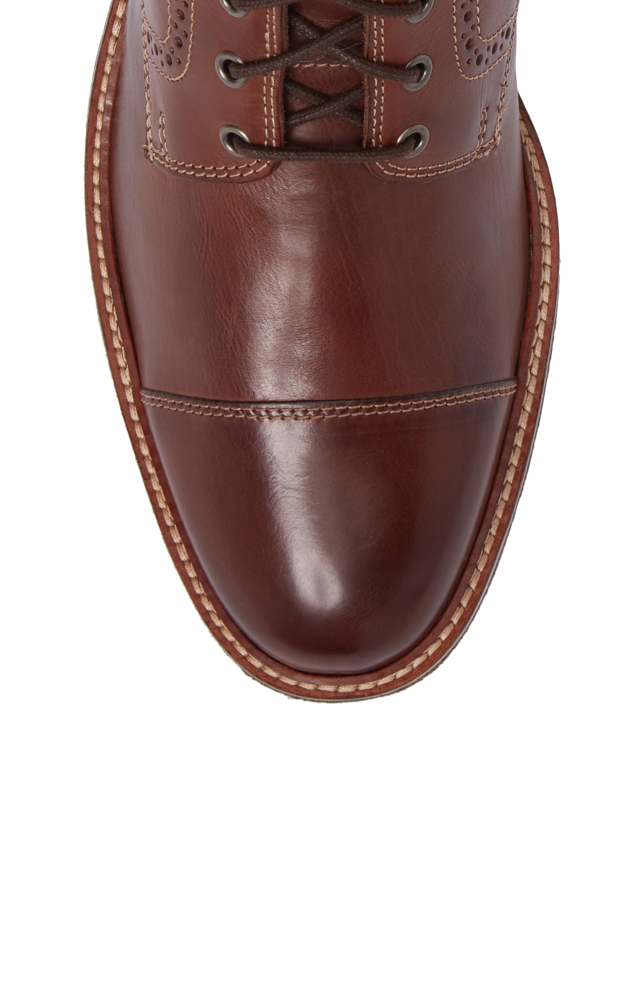 Forrester Cap Toe Boot,                             Alternate thumbnail 5, color,                             Mahogany Leather