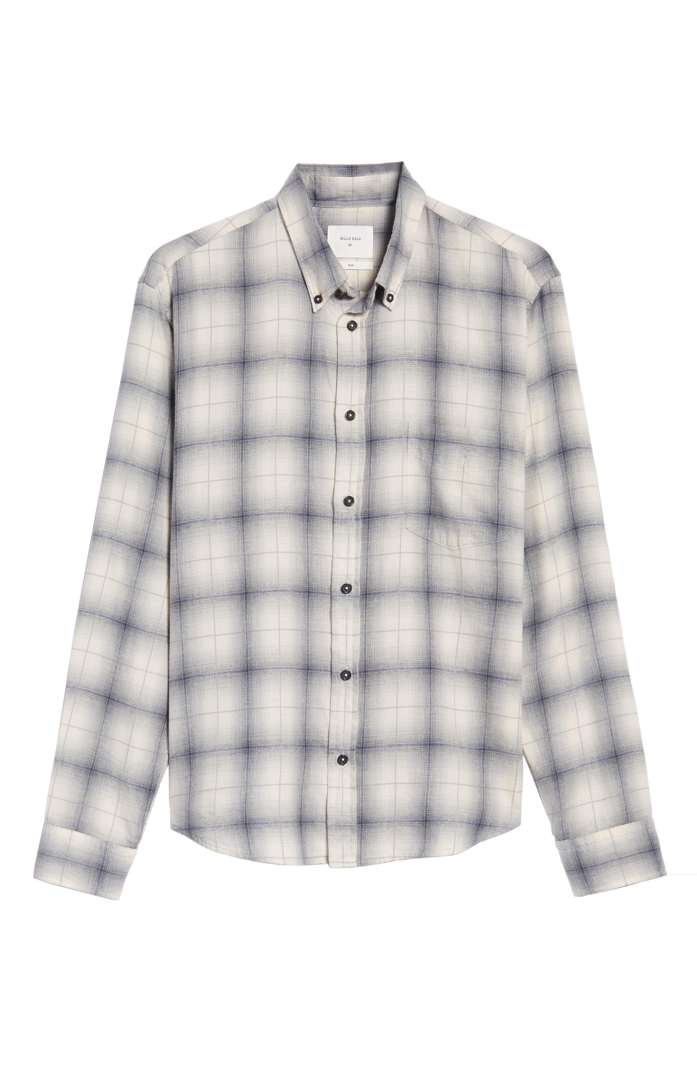 Kirby Slim Fit Plaid Flannel Shirt,                             Alternate thumbnail 6, color,                             Grey/ Blue