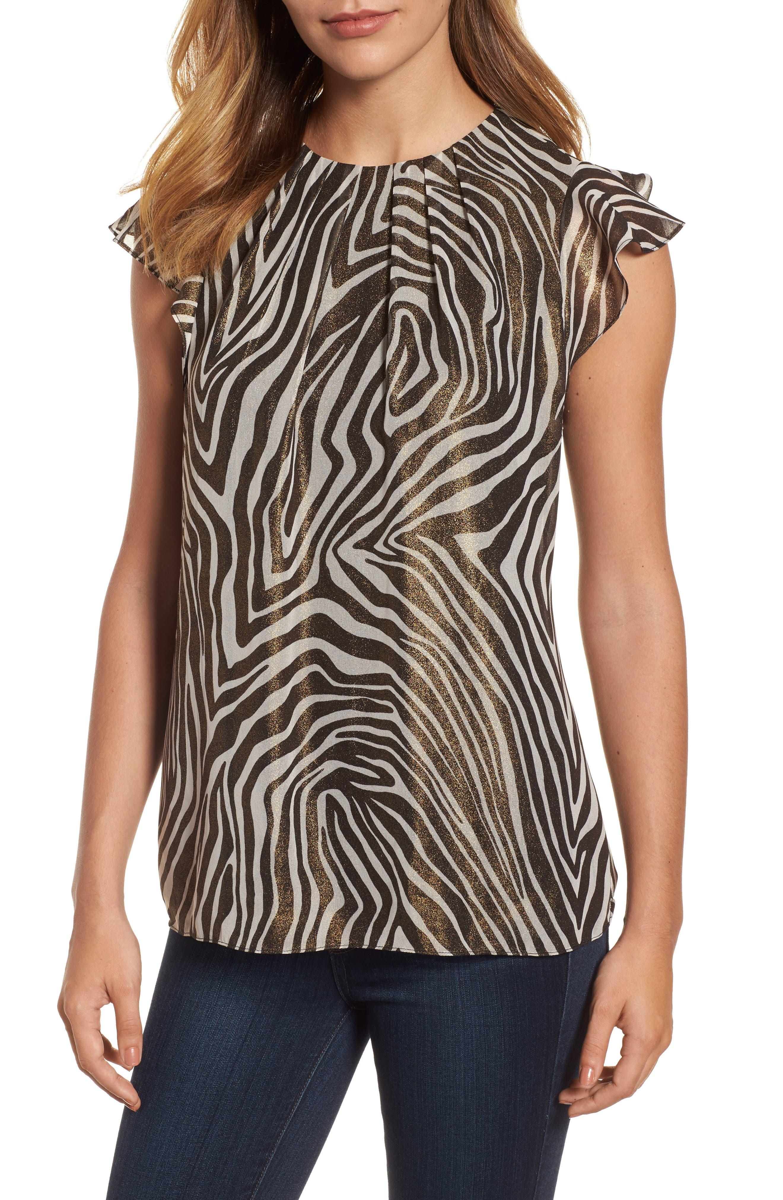Flounce Sleeve Shimmer Print Top,                         Main,                         color, Black/White