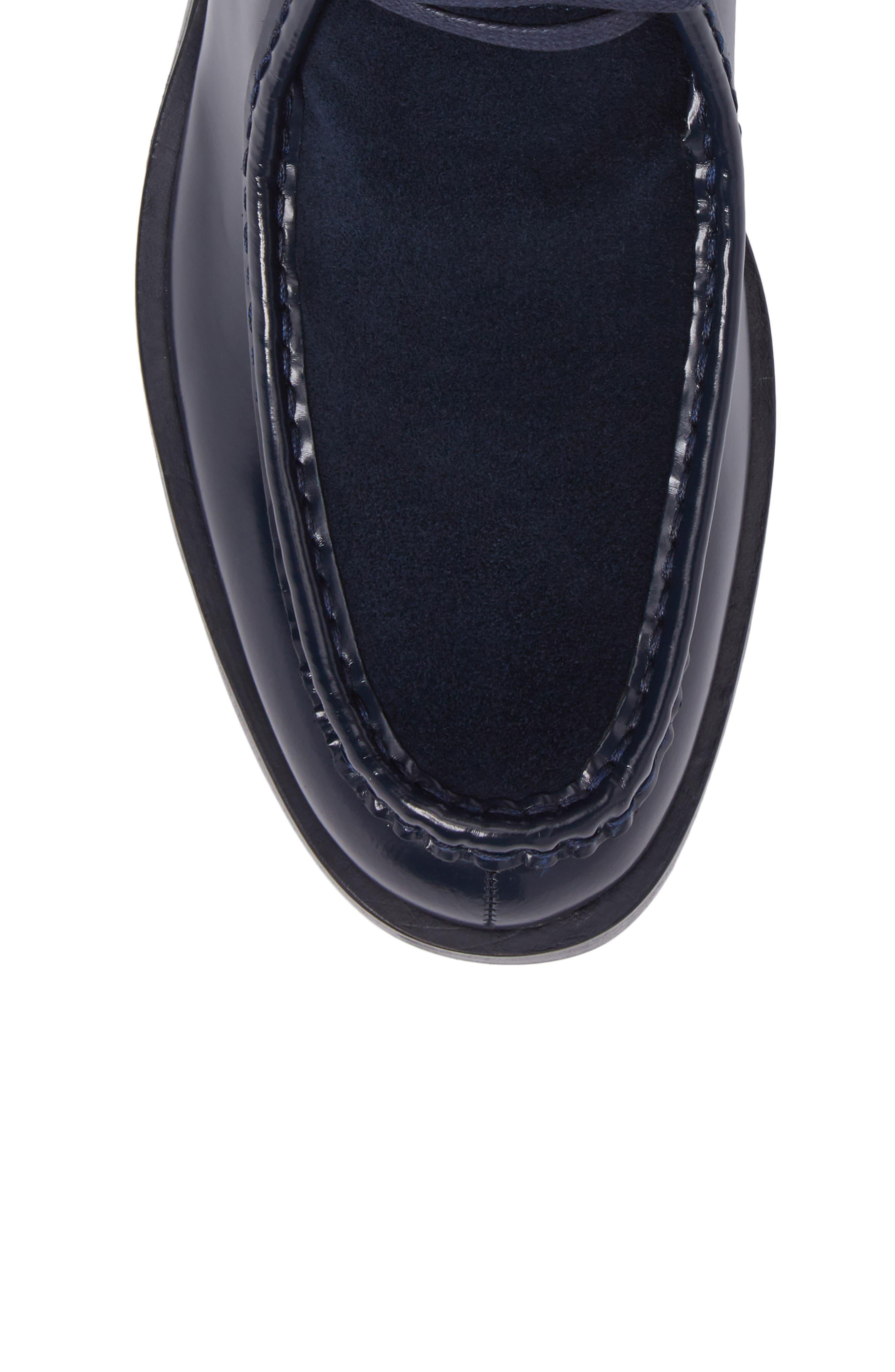 Rafi Moc Toe Boot,                             Alternate thumbnail 5, color,                             Dark Navy Leather