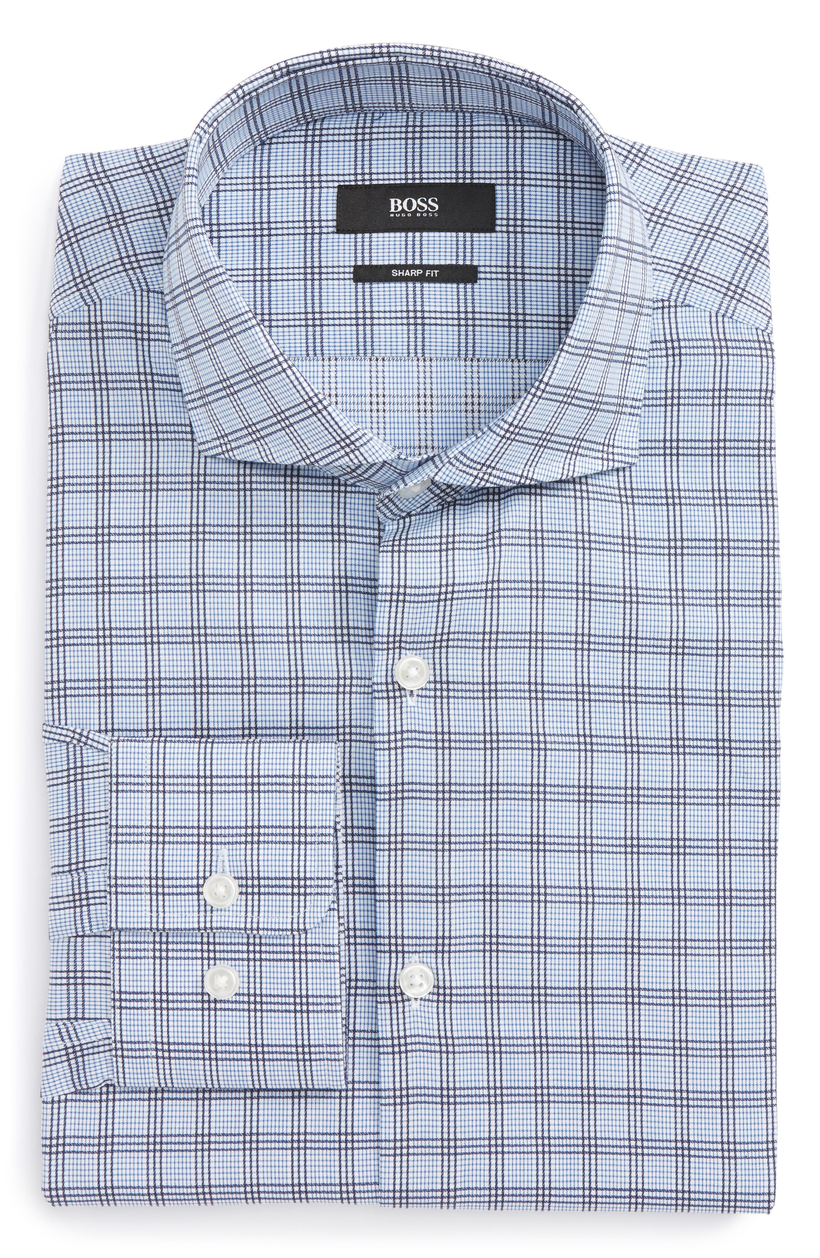 Mark Sharp Fit Check Dress Shirt,                         Main,                         color, Medium Blue