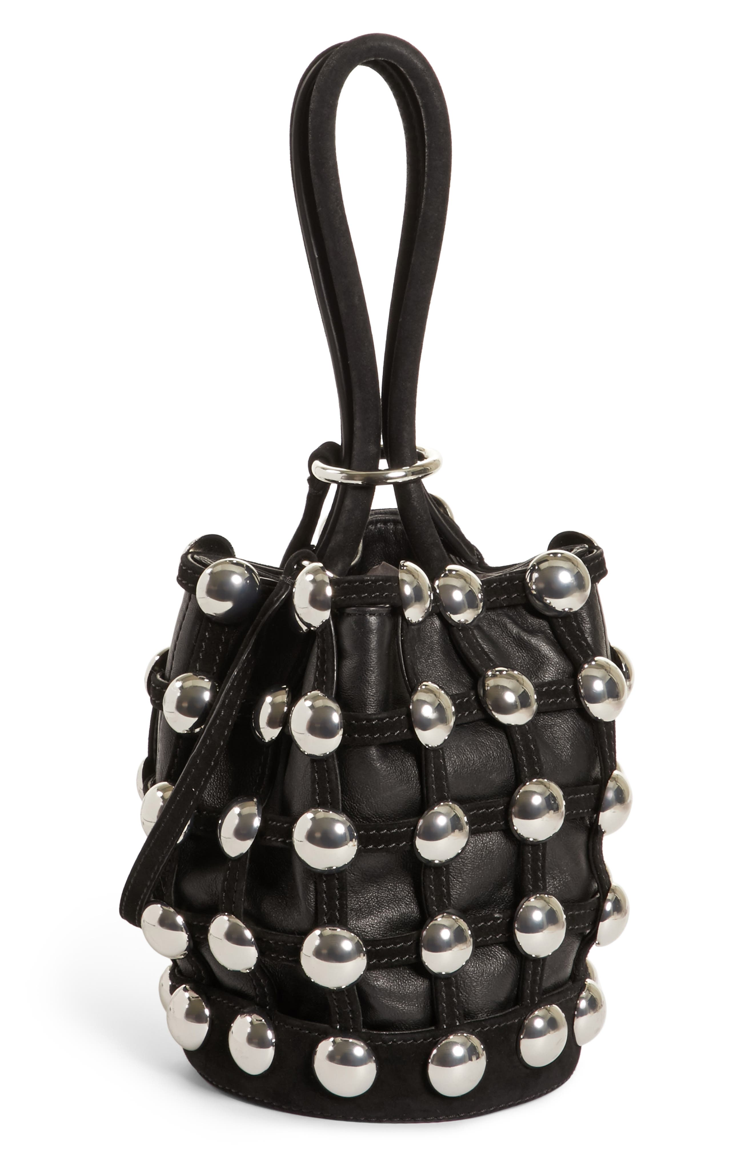 Mini Roxy Studded Cage Leather Bucket Bag,                             Alternate thumbnail 6, color,                             Black