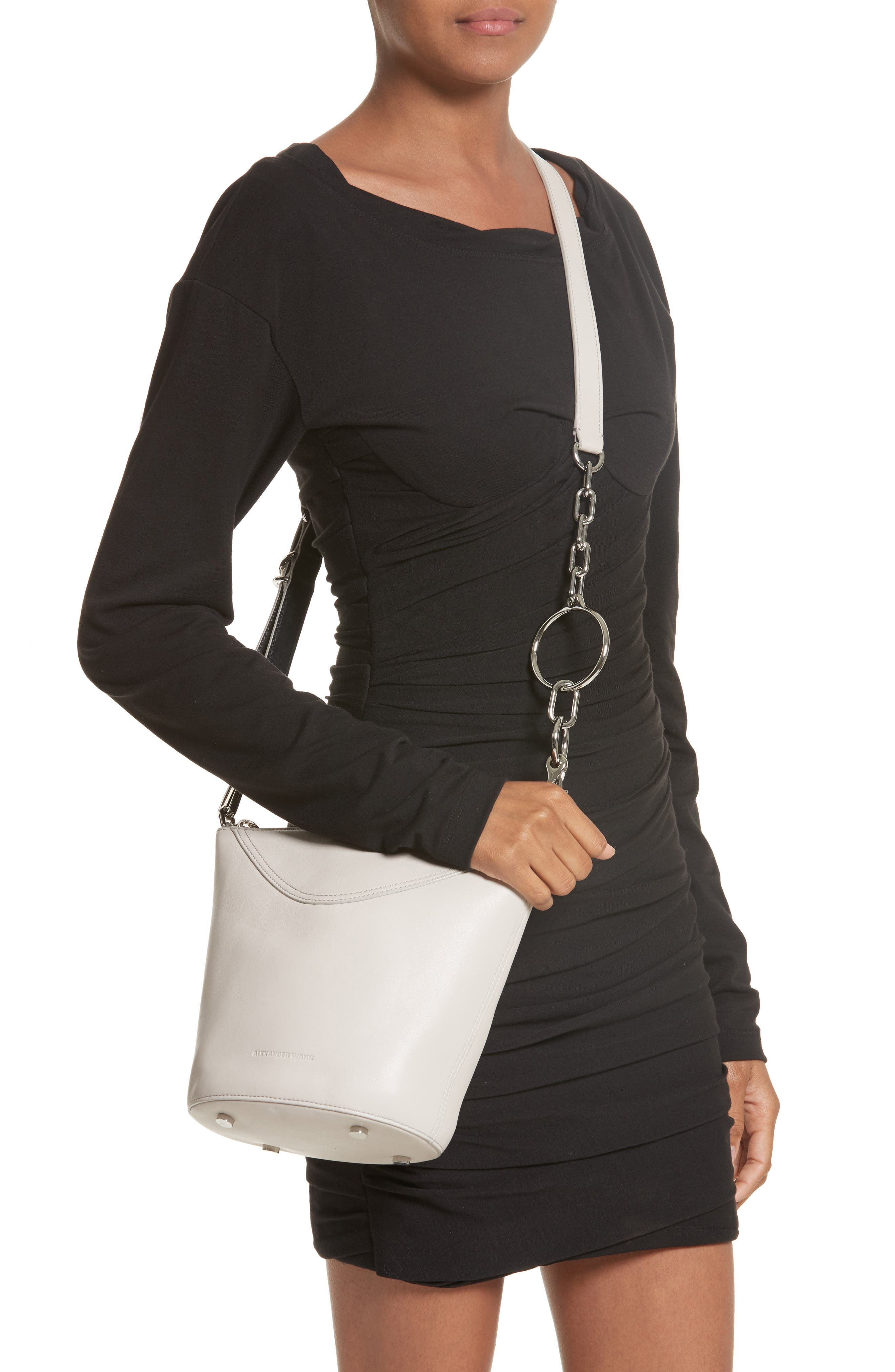Ace Leather Bucket Bag,                             Alternate thumbnail 2, color,                             Smoke