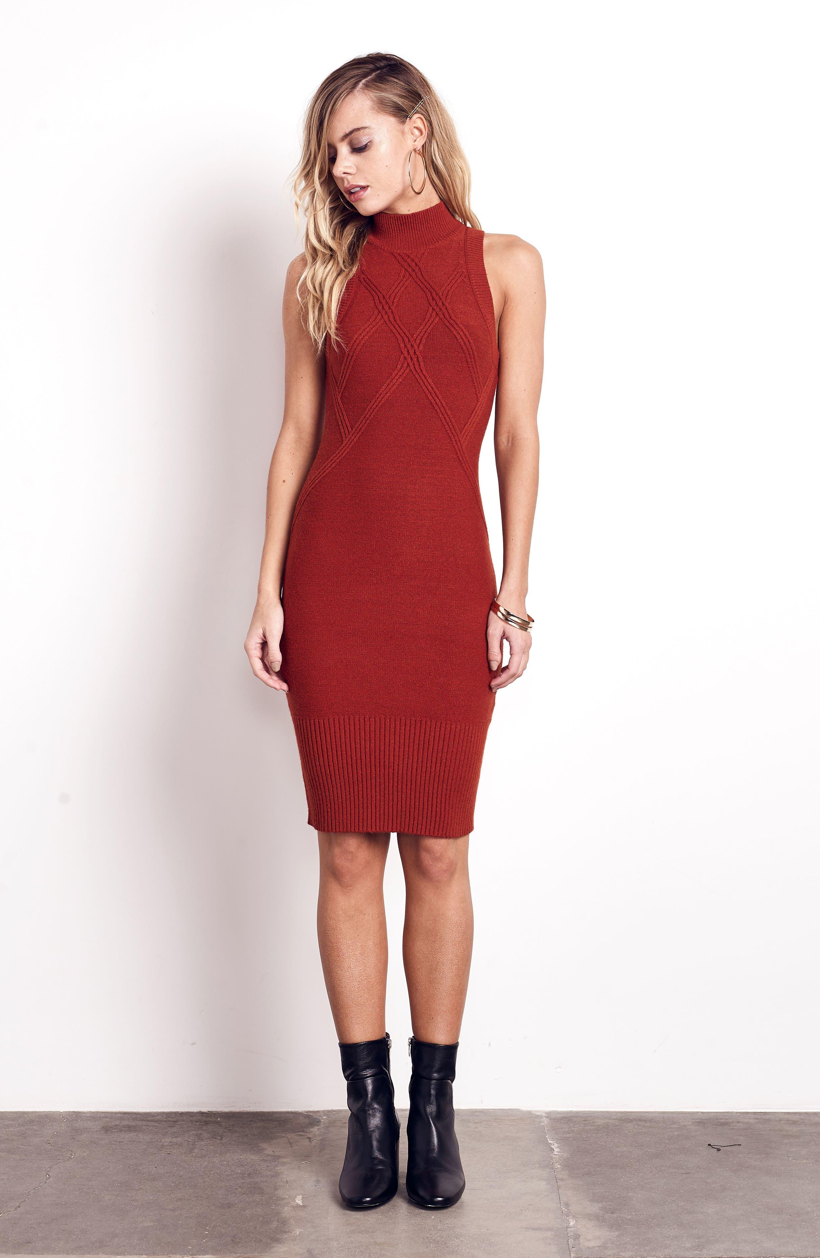 Body-Con Dress,                             Alternate thumbnail 2, color,                             Rust