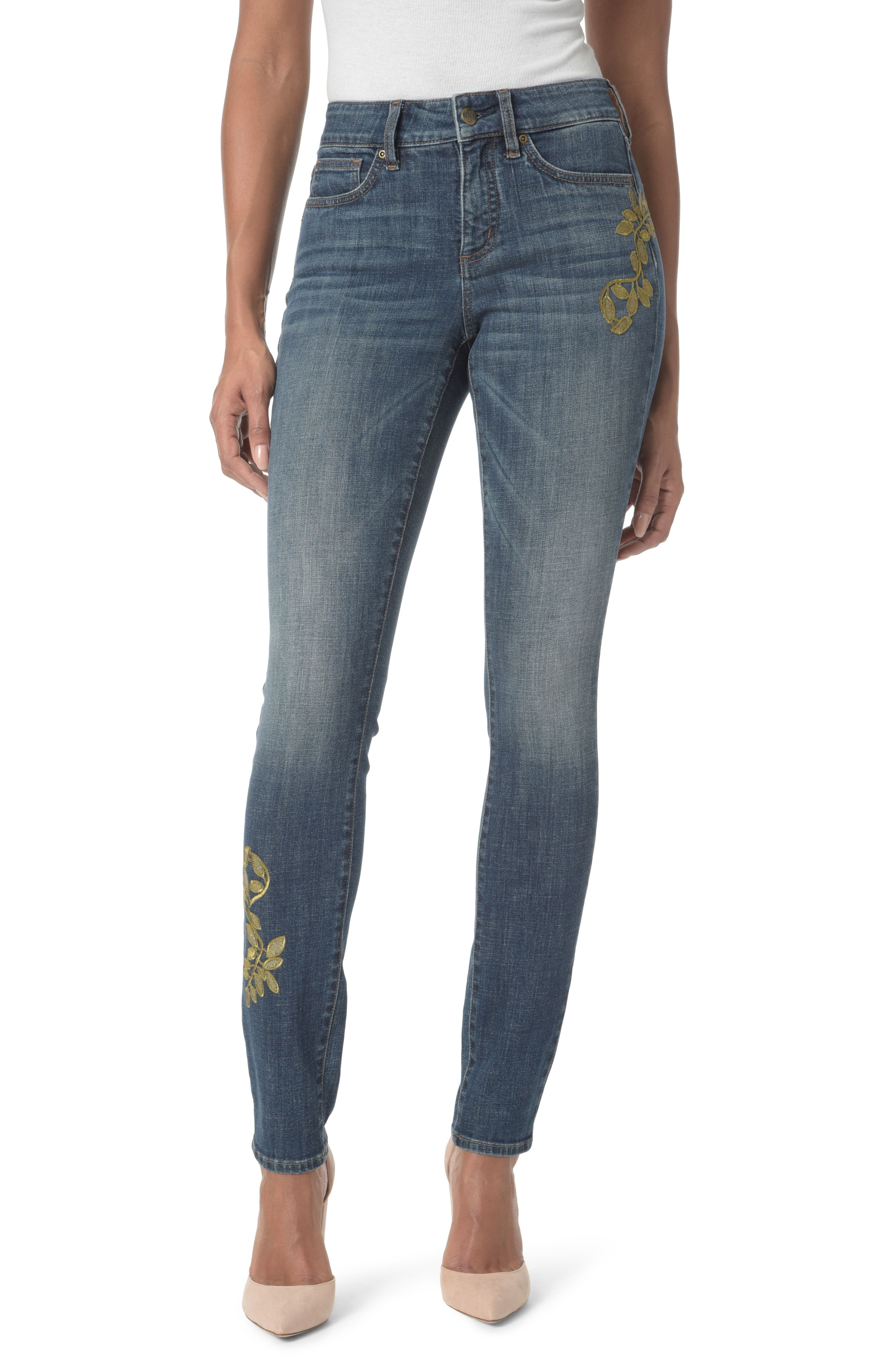 Alina Stretch Skinny Jeans,                             Main thumbnail 1, color,                             Desert Gold