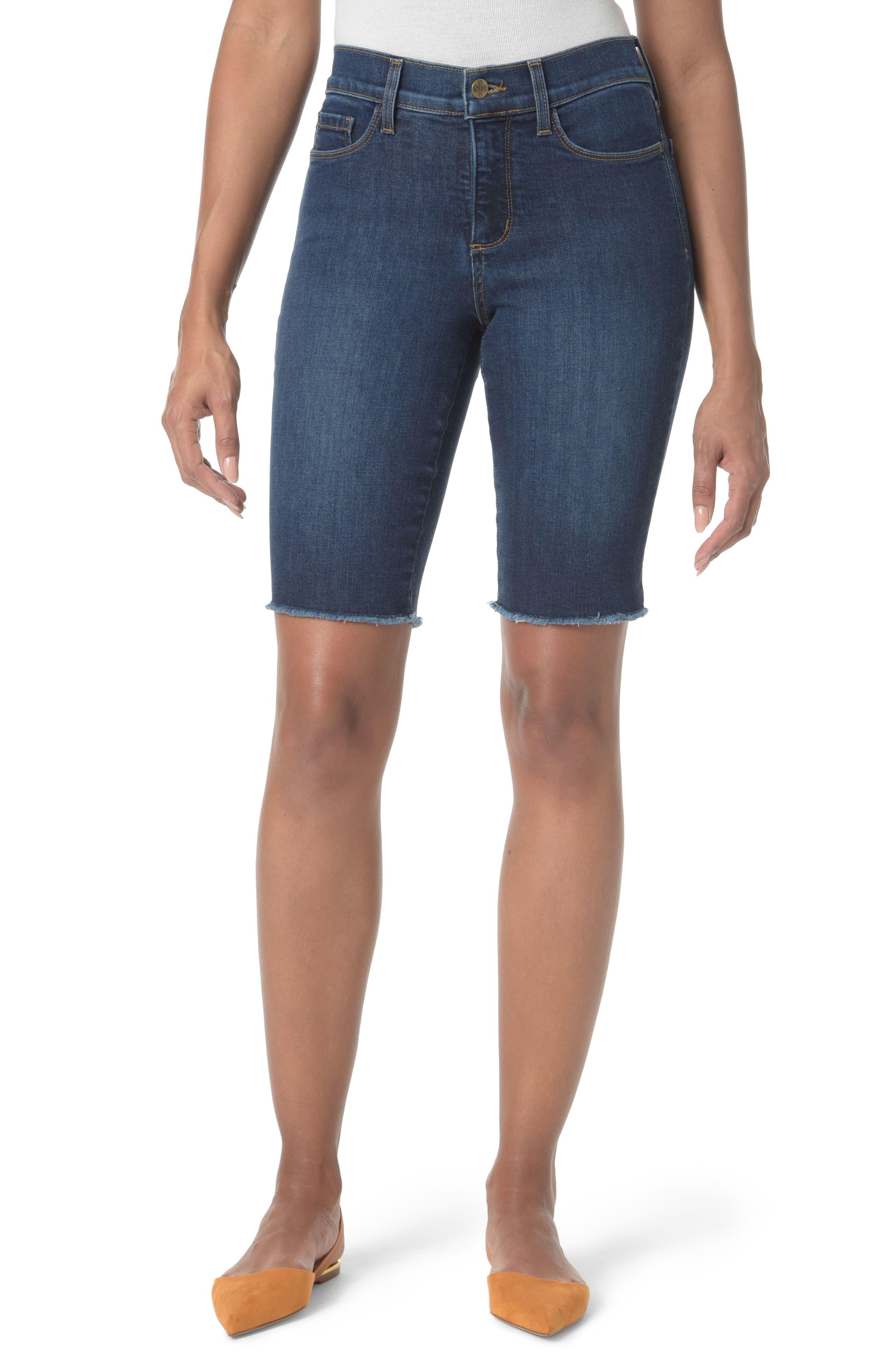 Briella Fray Hem Denim Bermuda Shorts,                         Main,                         color, Cooper