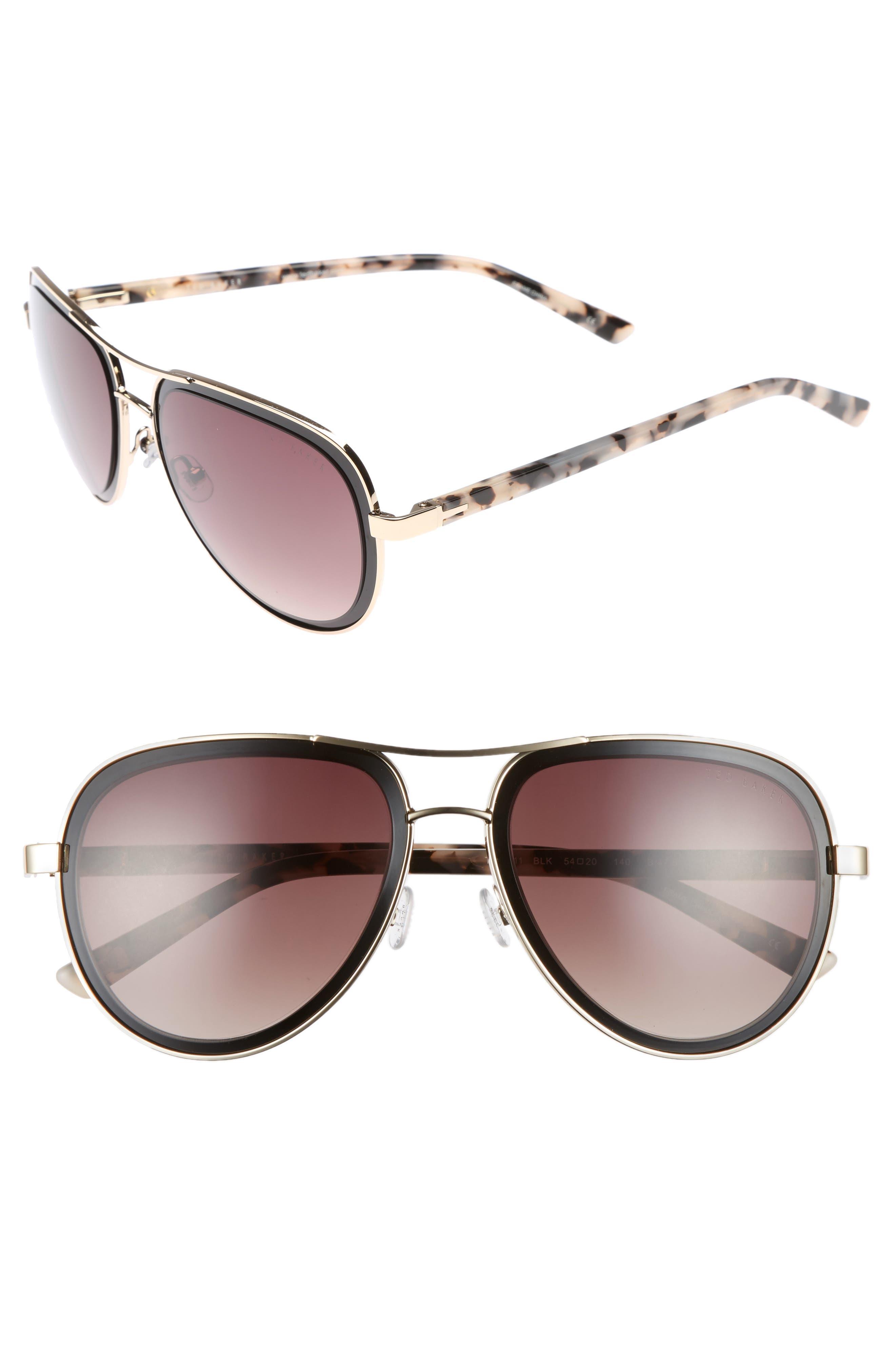 54mm Aviator Sunglasses,                         Main,                         color, Black