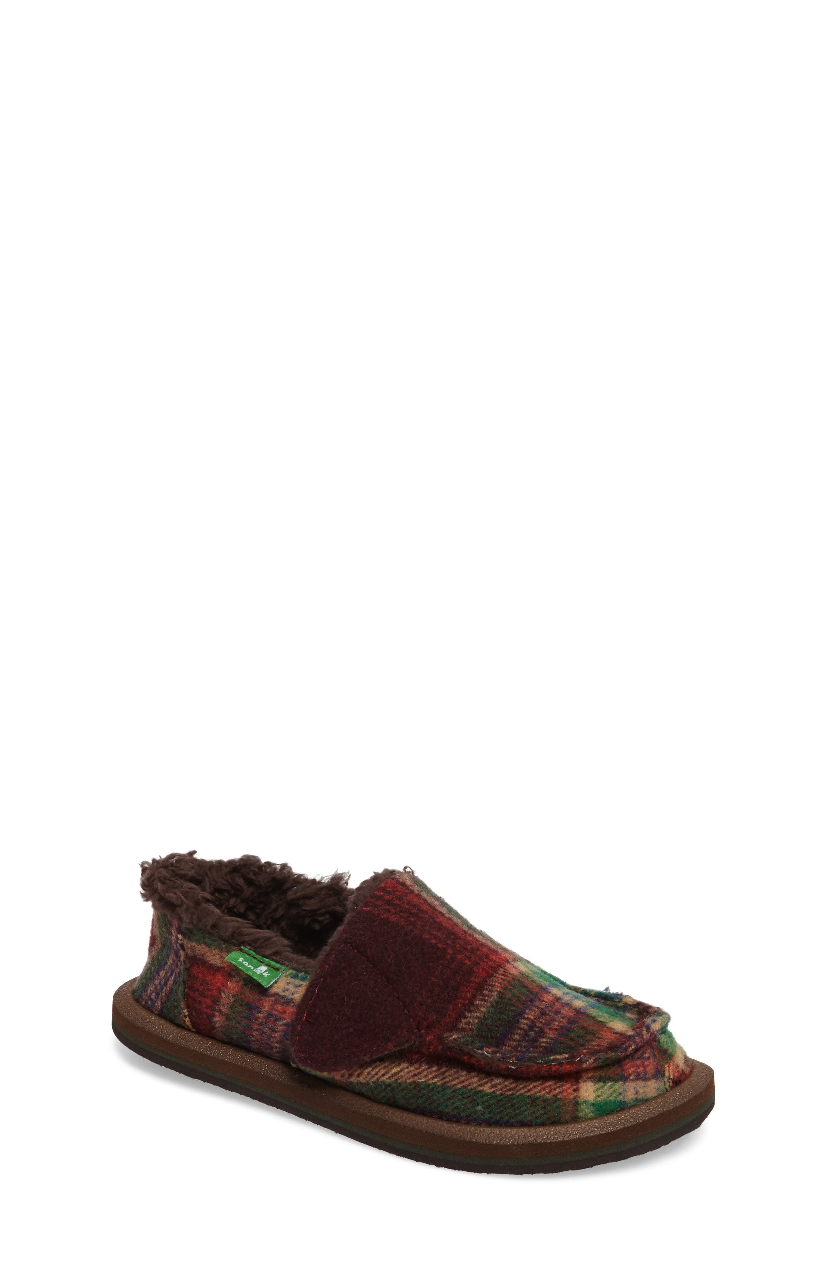 Main Image - Sanuk Vagabond Plaid Chill Faux Fur Slip-On (Toddler, Little Kid & Big Kid)