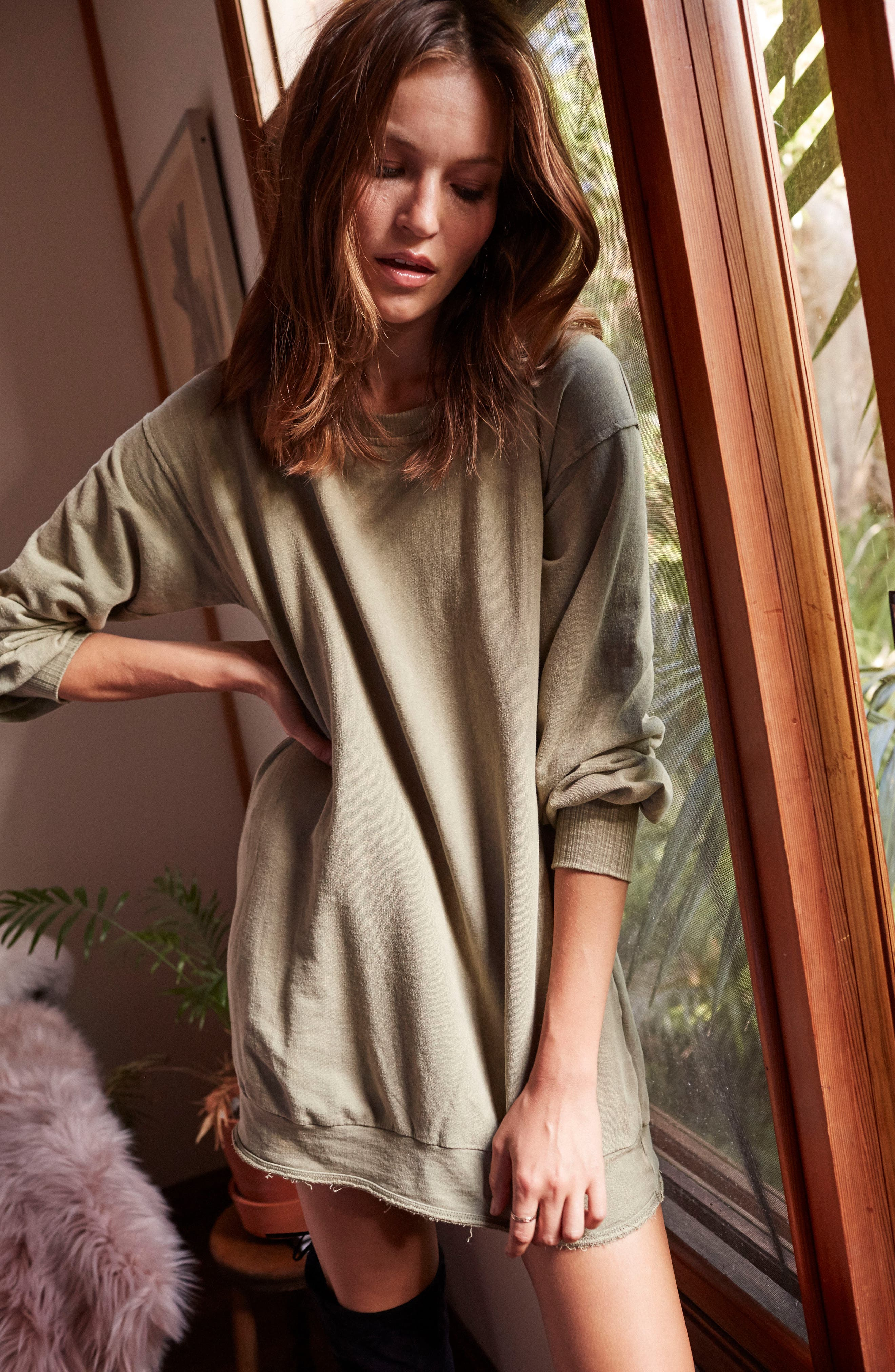 Mountains Fade Sweatshirt Dress,                             Alternate thumbnail 2, color,                             Sage