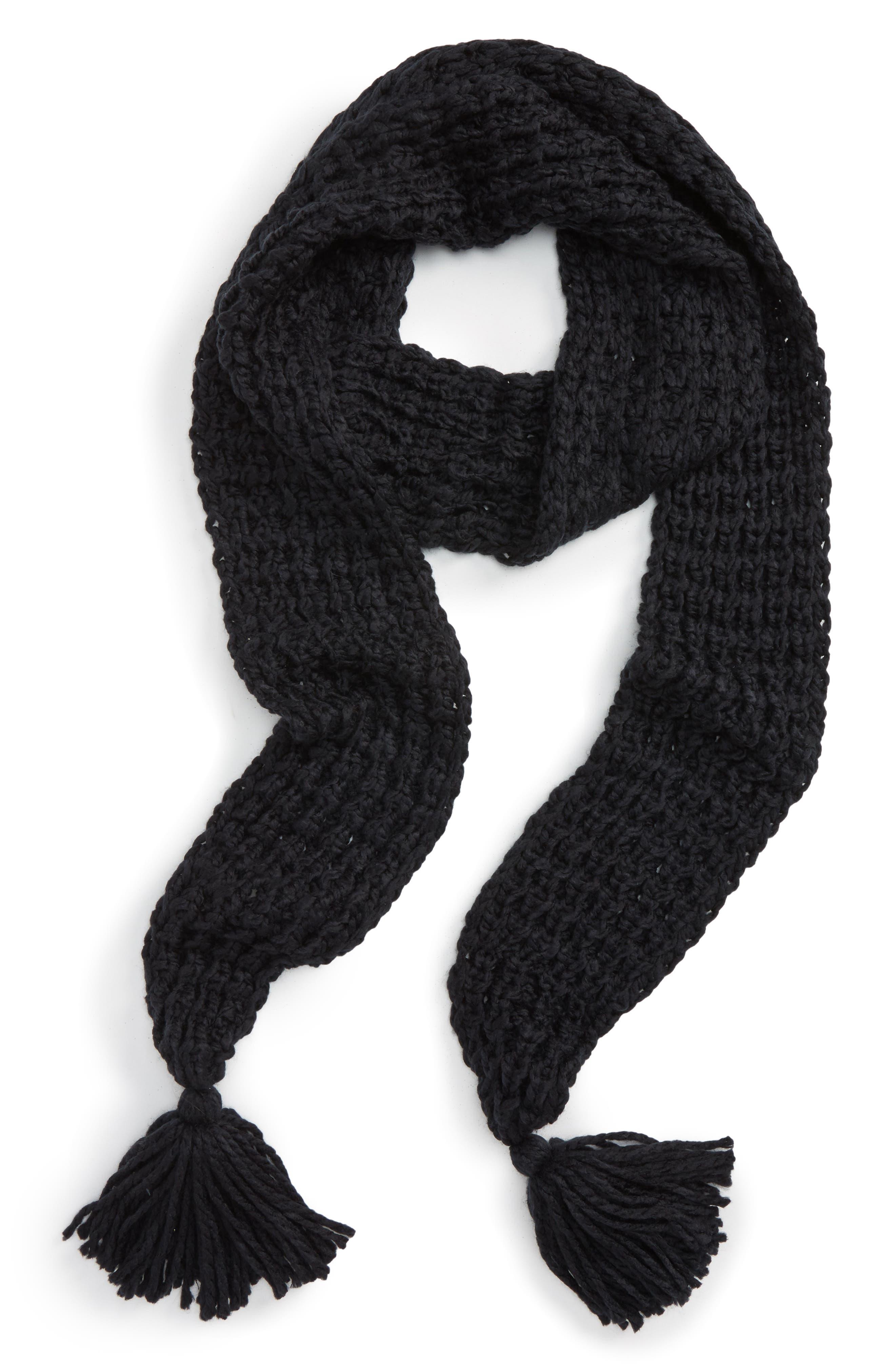 Chunky Knit Skinny Scarf,                         Main,                         color, Black