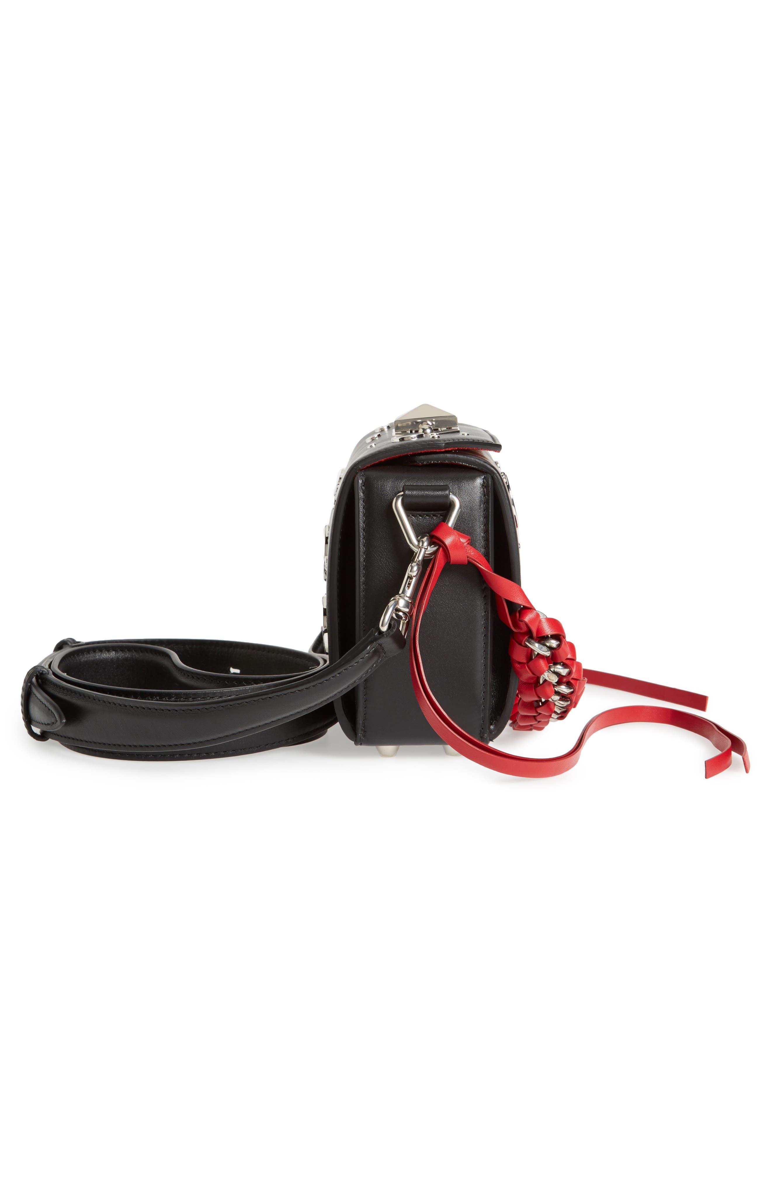 Box Bag 16 Matte Calfskin Bag,                             Alternate thumbnail 4, color,                             Black/ Red