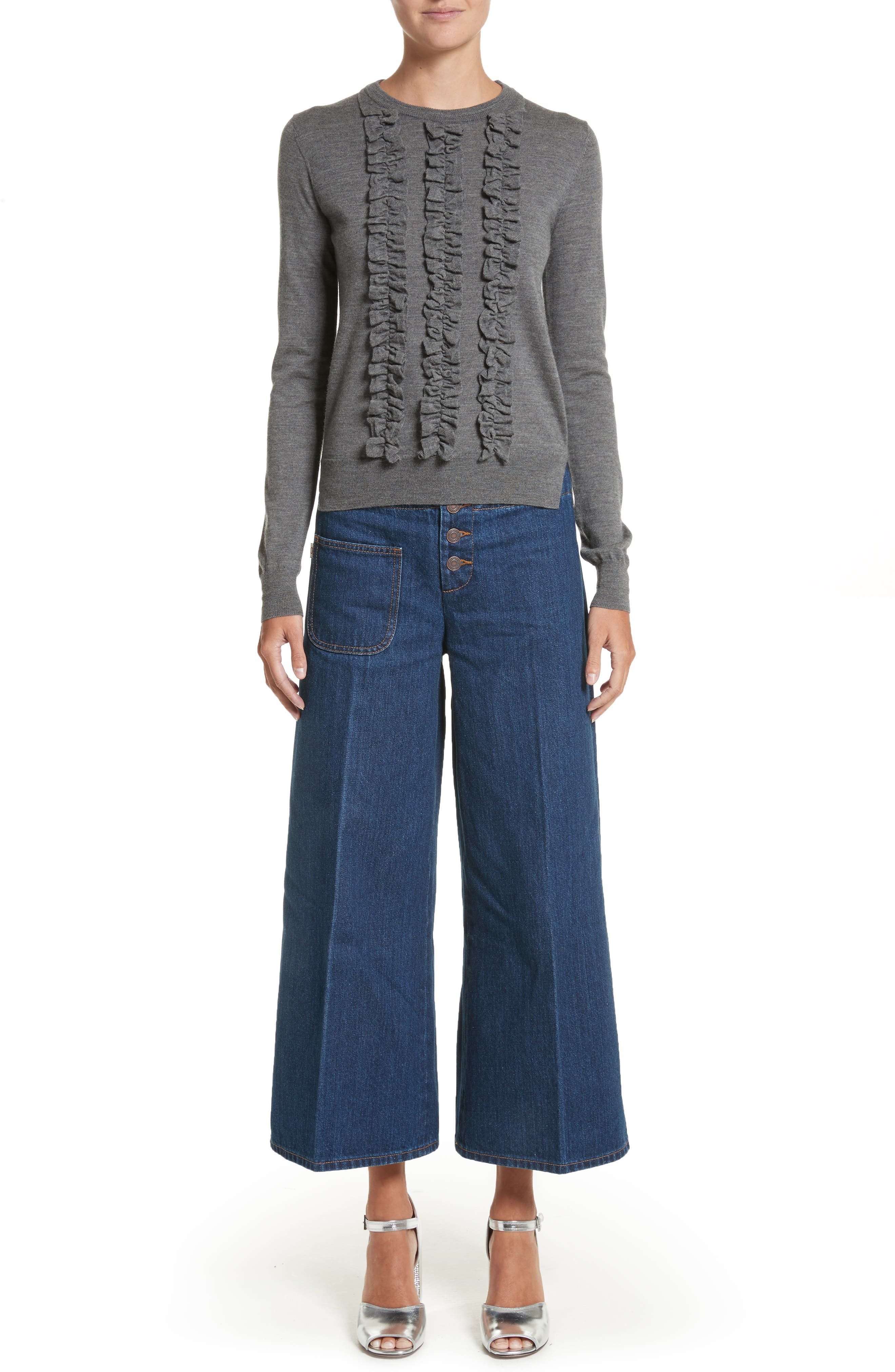 Ruffle Merino Wool Sweater,                             Alternate thumbnail 7, color,                             Dark Grey Melange