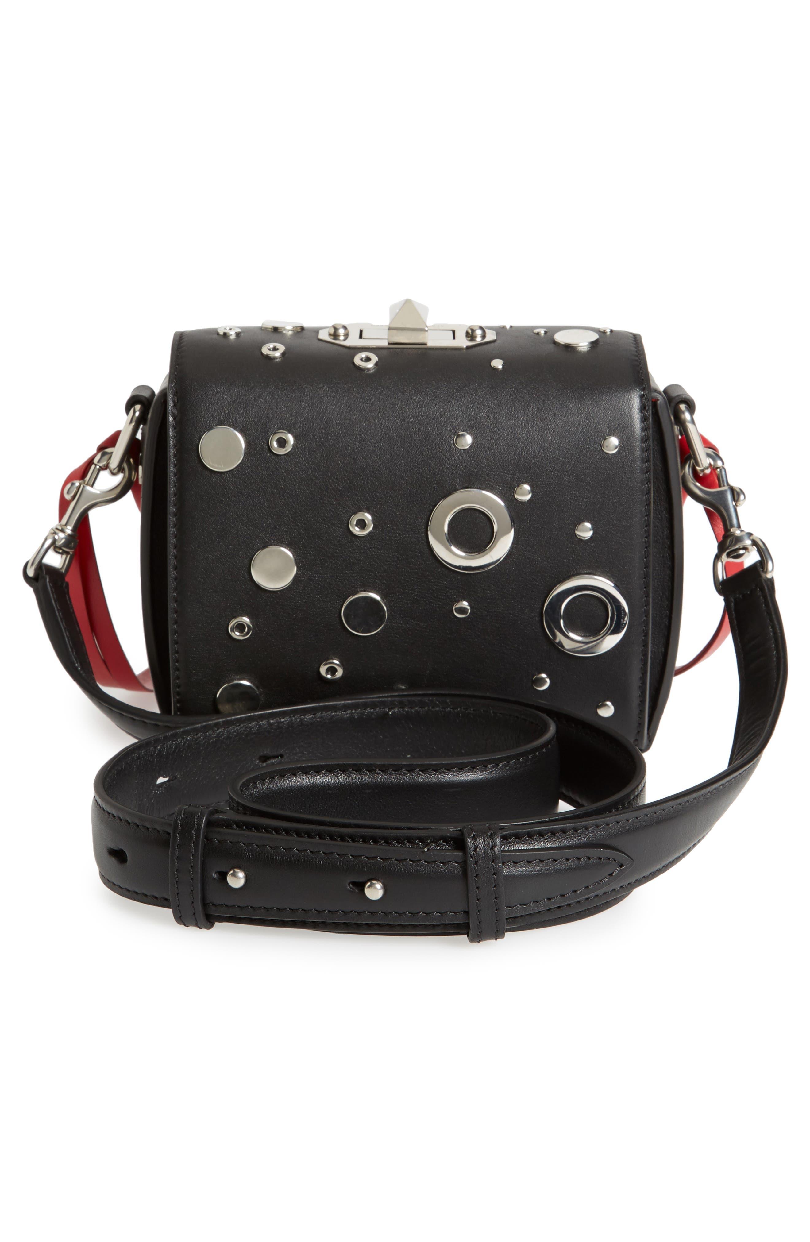 Box Bag 16 Matte Calfskin Bag,                             Alternate thumbnail 2, color,                             Black/ Red