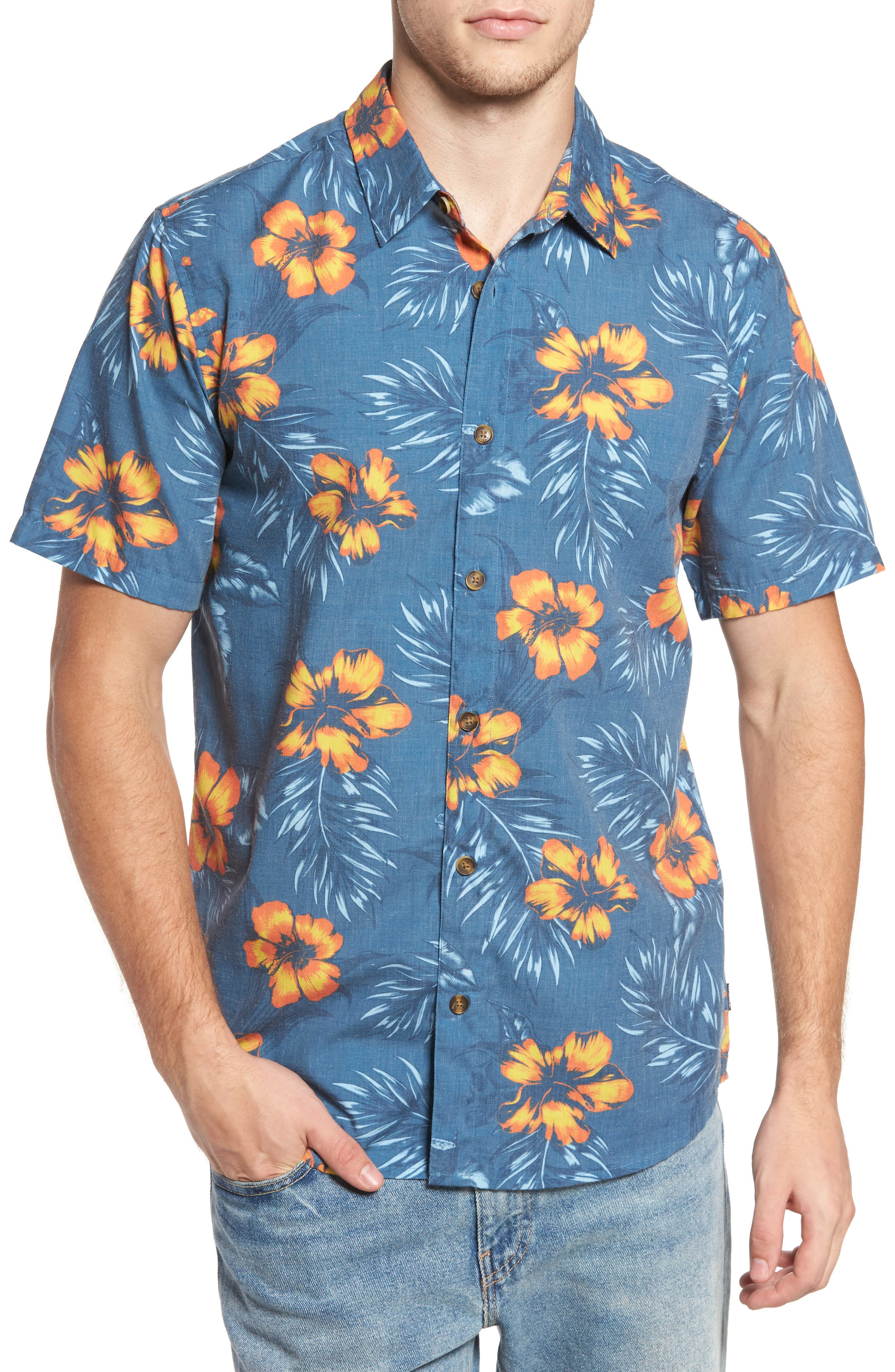 Ala Moana Floral Sport Shirt,                         Main,                         color, Ocean