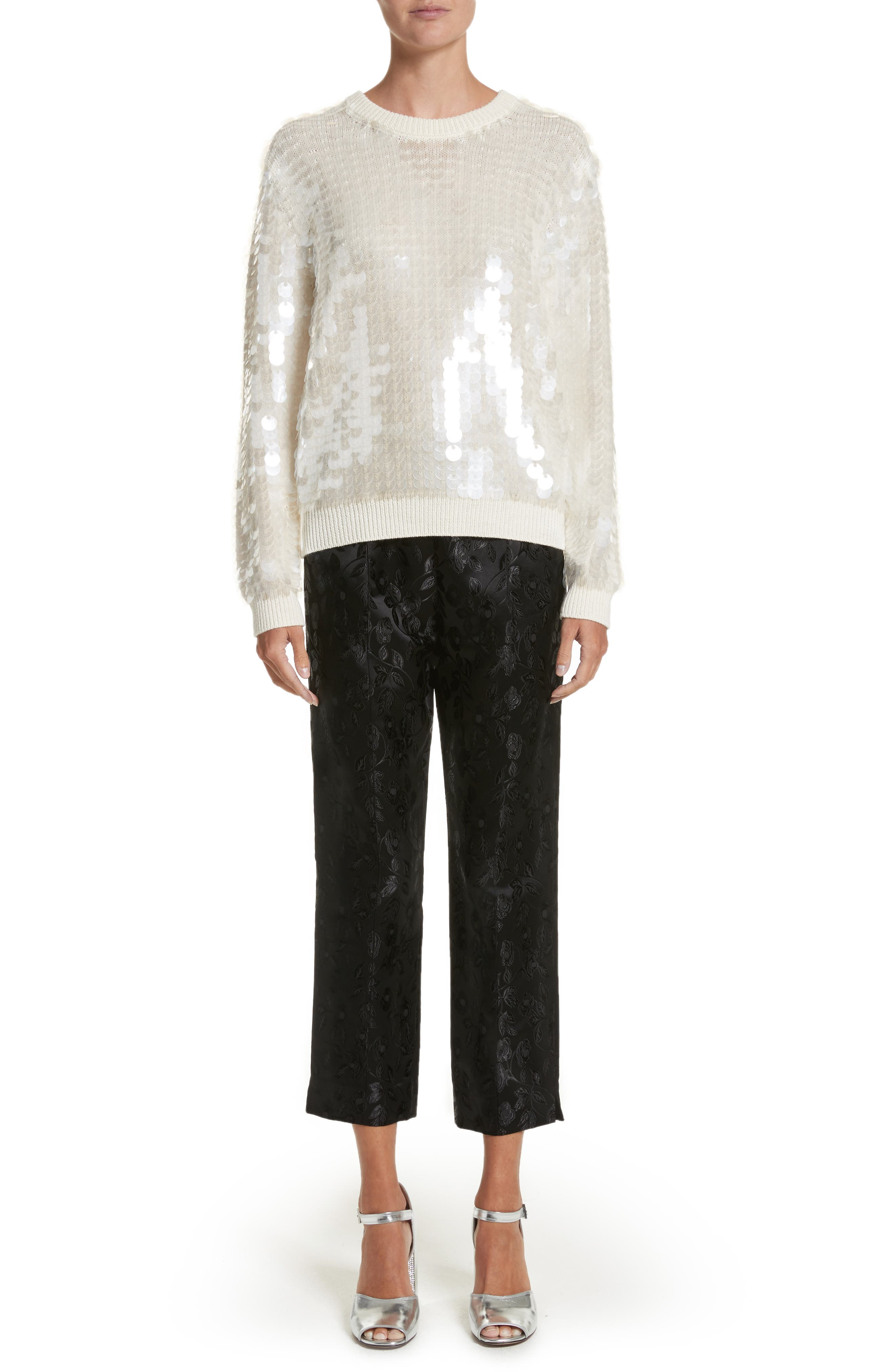 Sequin Wool Sweater,                             Alternate thumbnail 8, color,                             Ivory