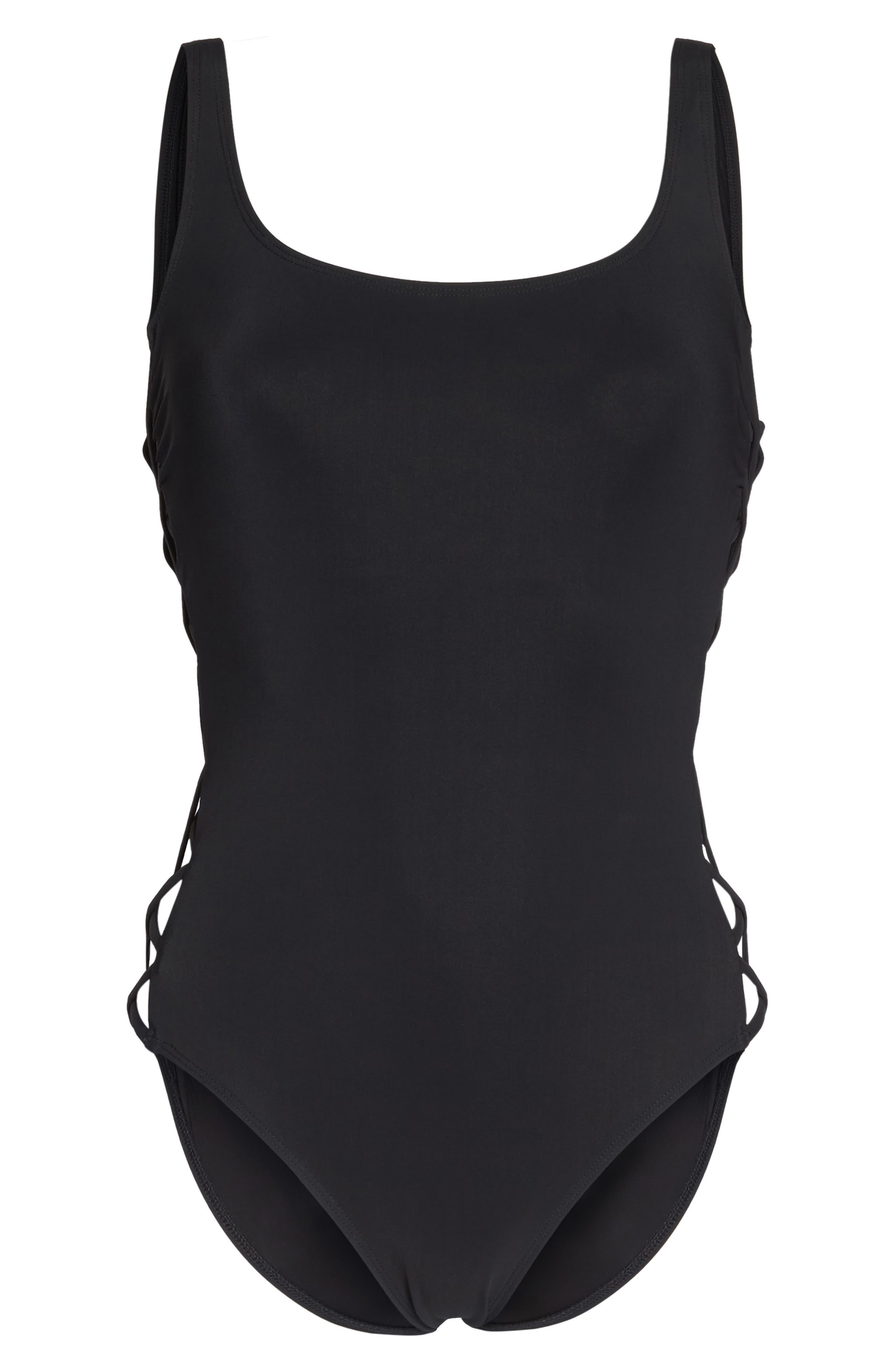 One-Piece Swimsuit,                             Alternate thumbnail 6, color,                             Black