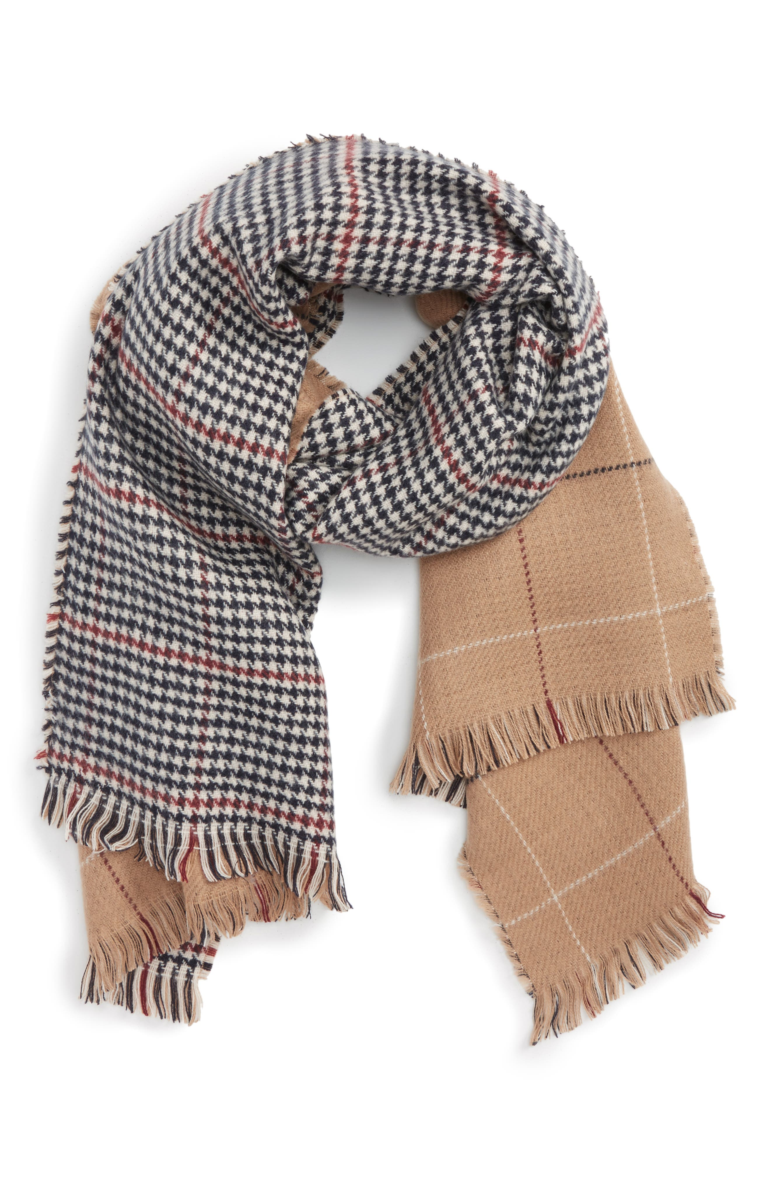 BP. Reversible Houndstooth & Grid Scarf
