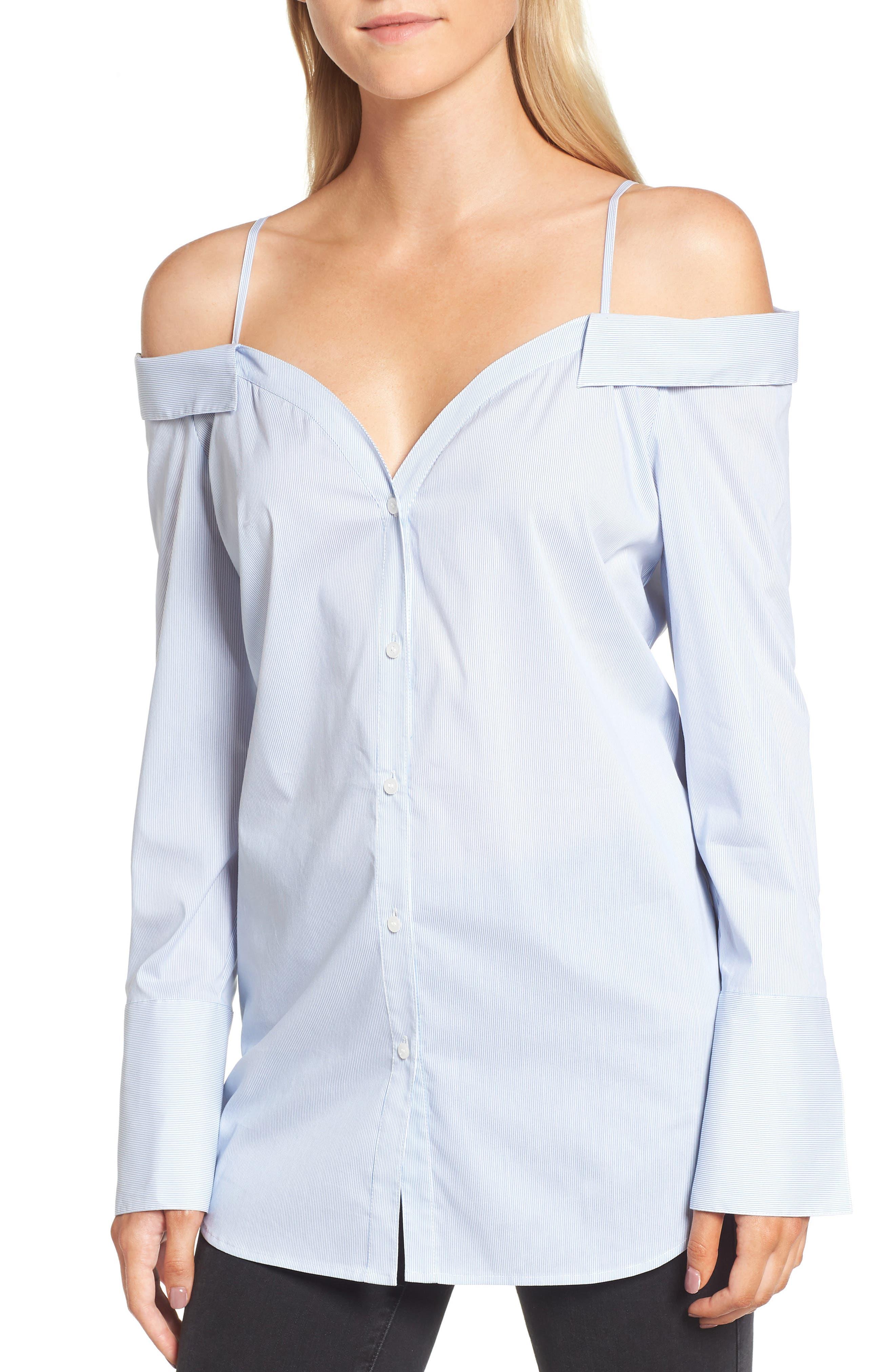 Off the Shoulder Stretch Poplin Shirt,                         Main,                         color, Blue- White Mini Stripe
