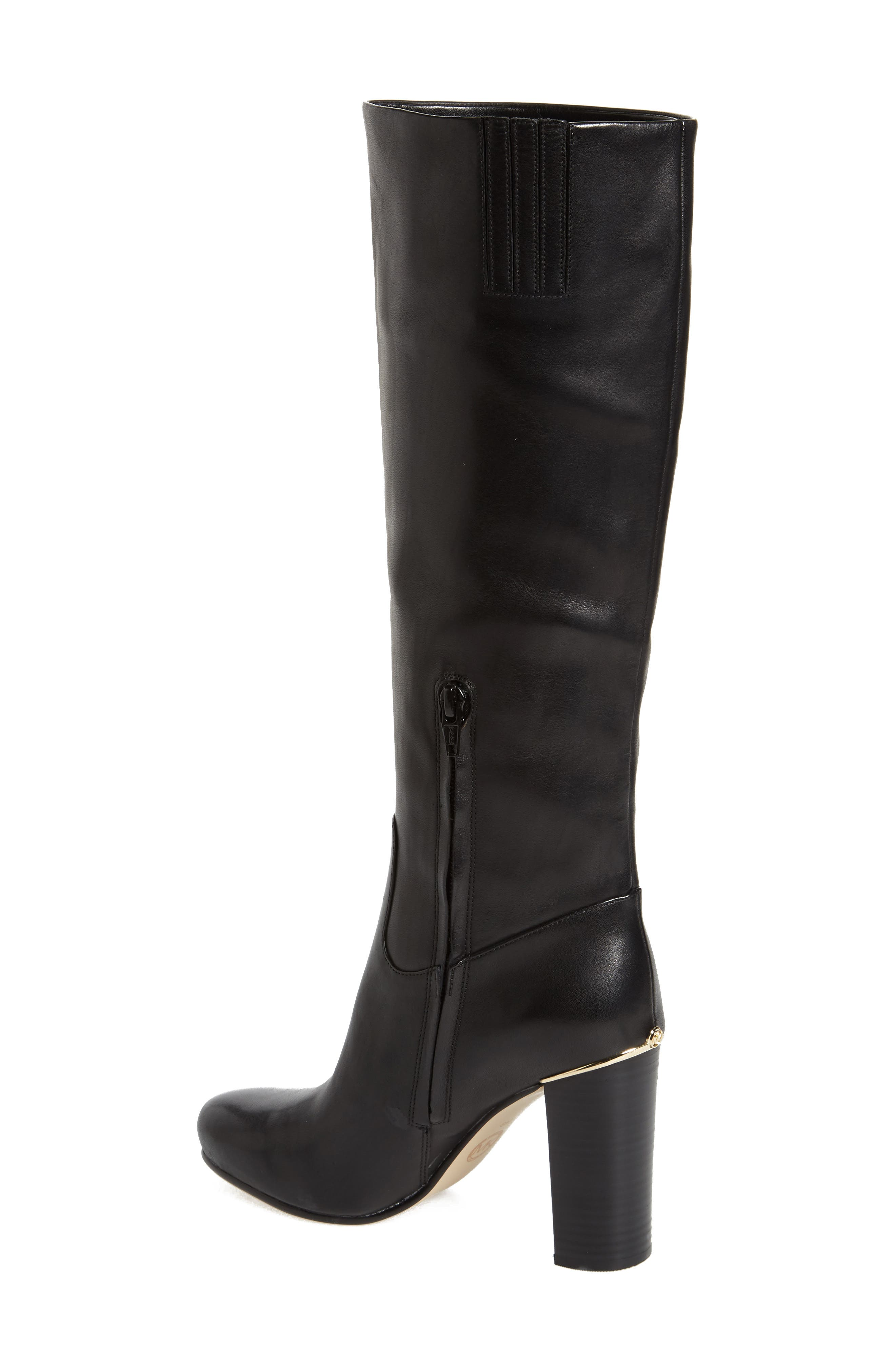 Janice Knee High Boot,                             Alternate thumbnail 2, color,                             Black Calf Leather